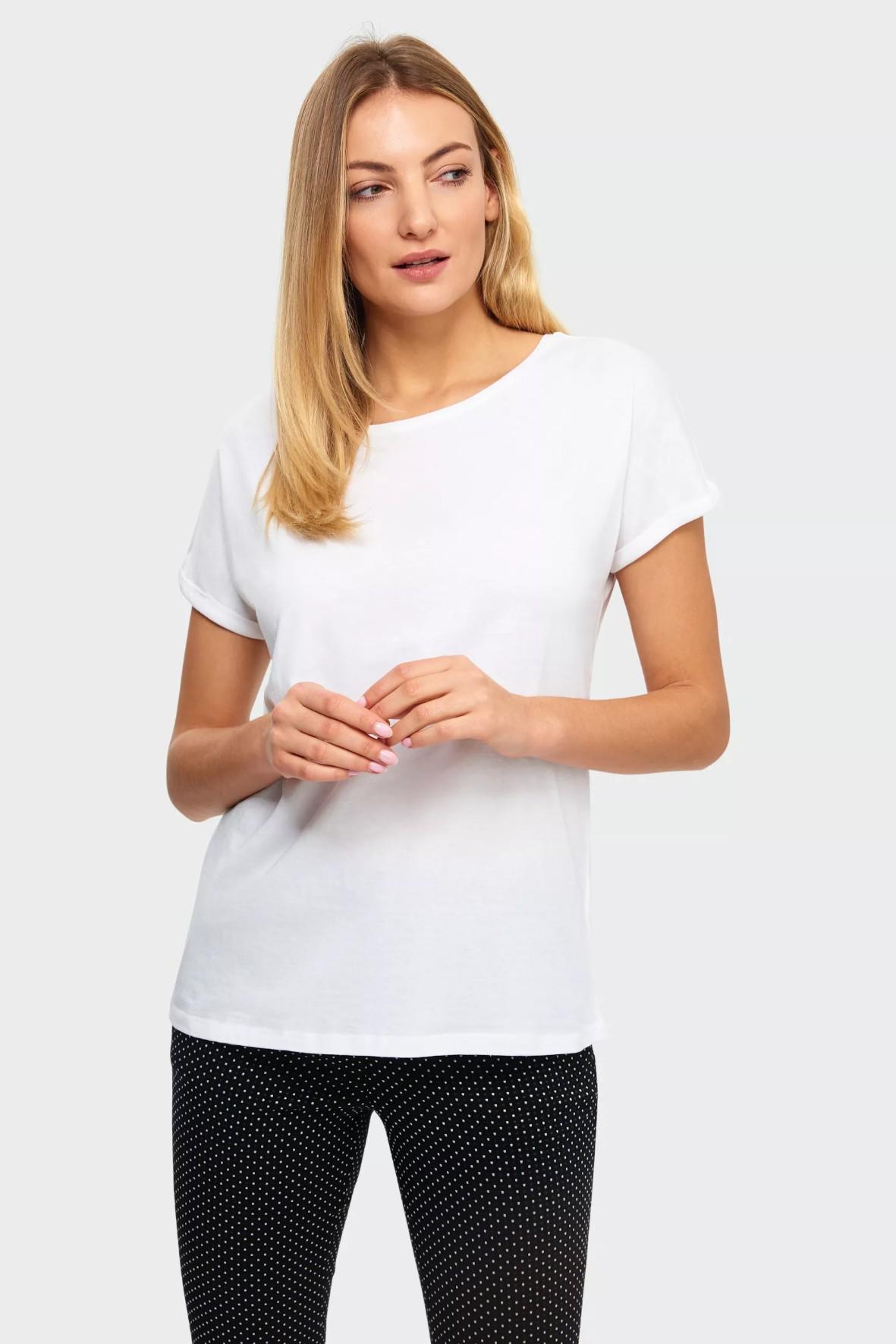 Biały klasyczny bawełniany top damski