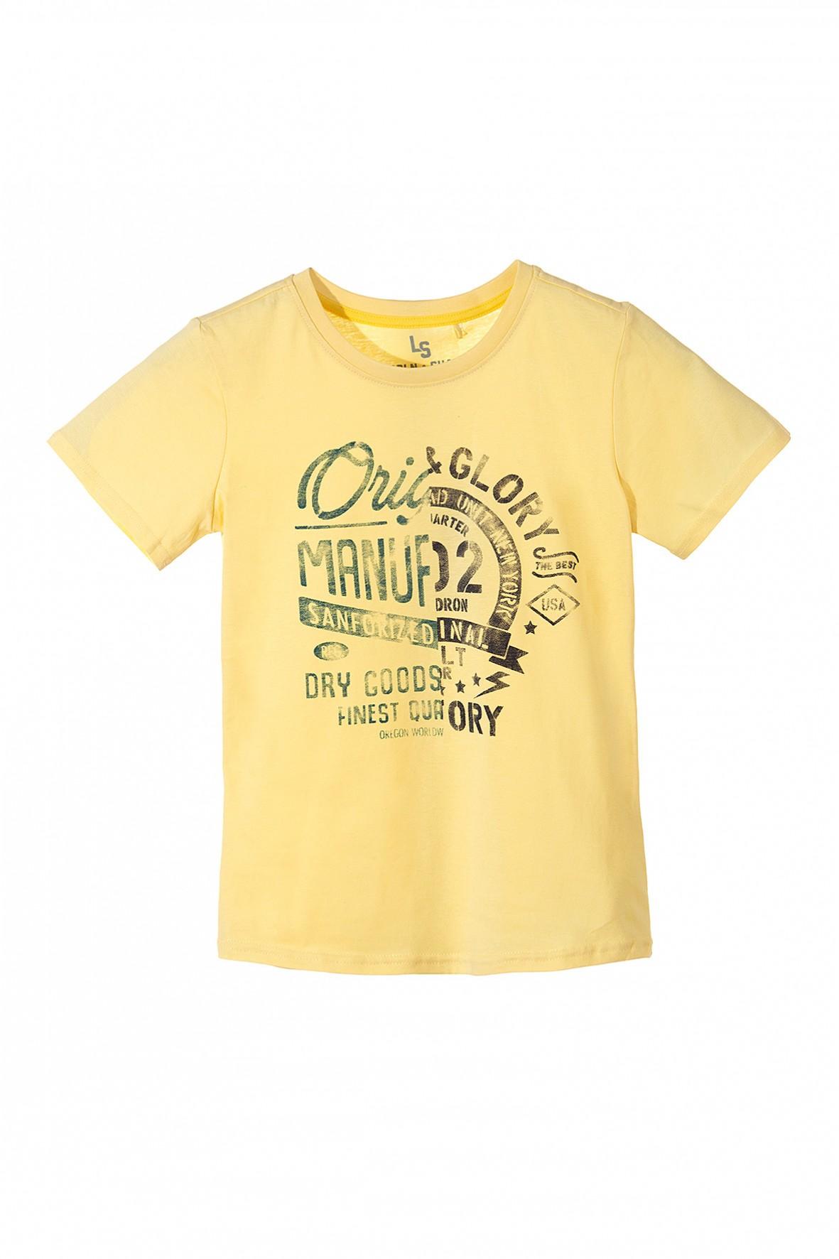 Koszulka chłopięca z krótkim rękawem z modnymi nadrukami z przodu