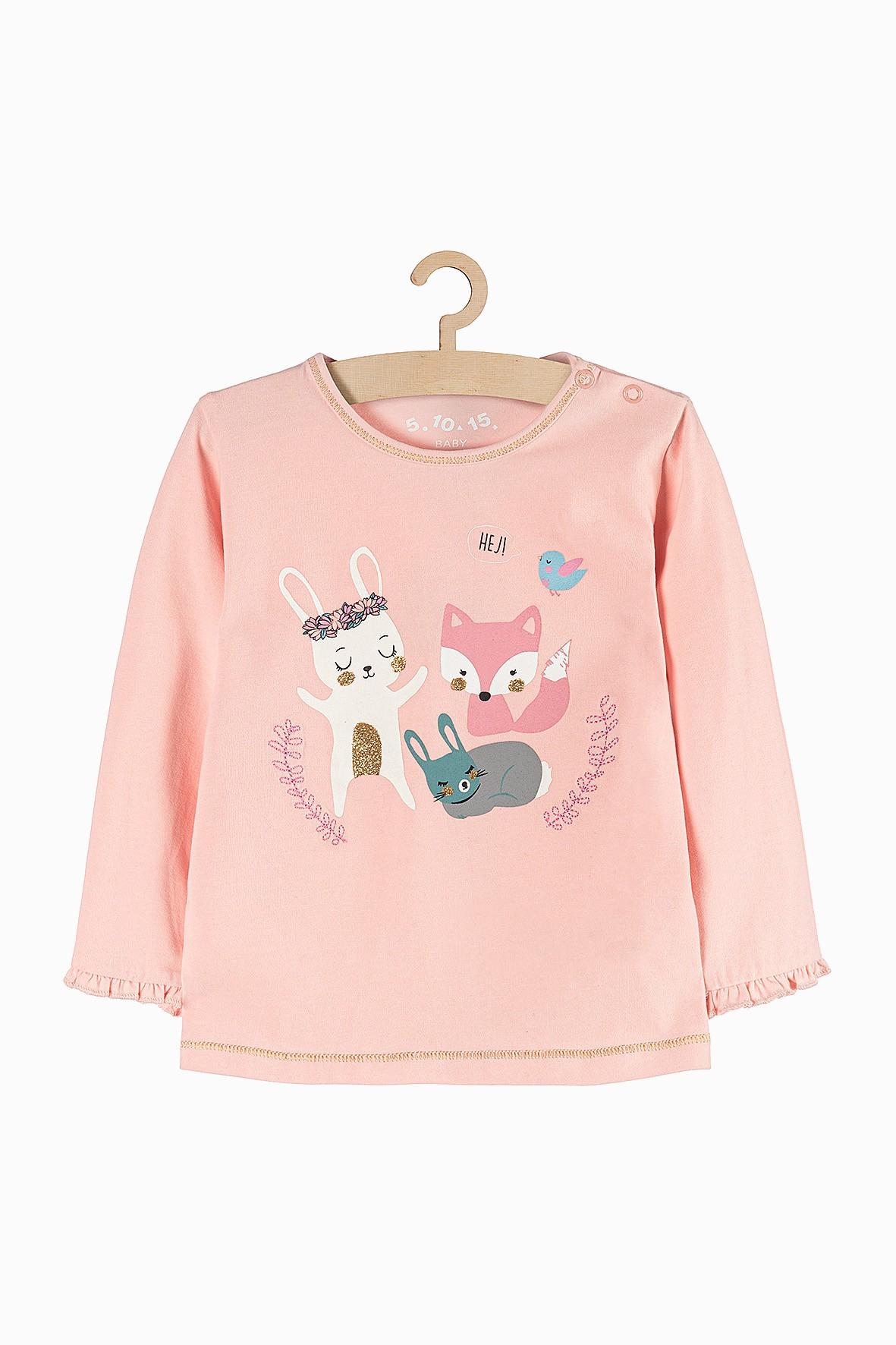 Bluzka niemowlęca różowa w zwierzątka