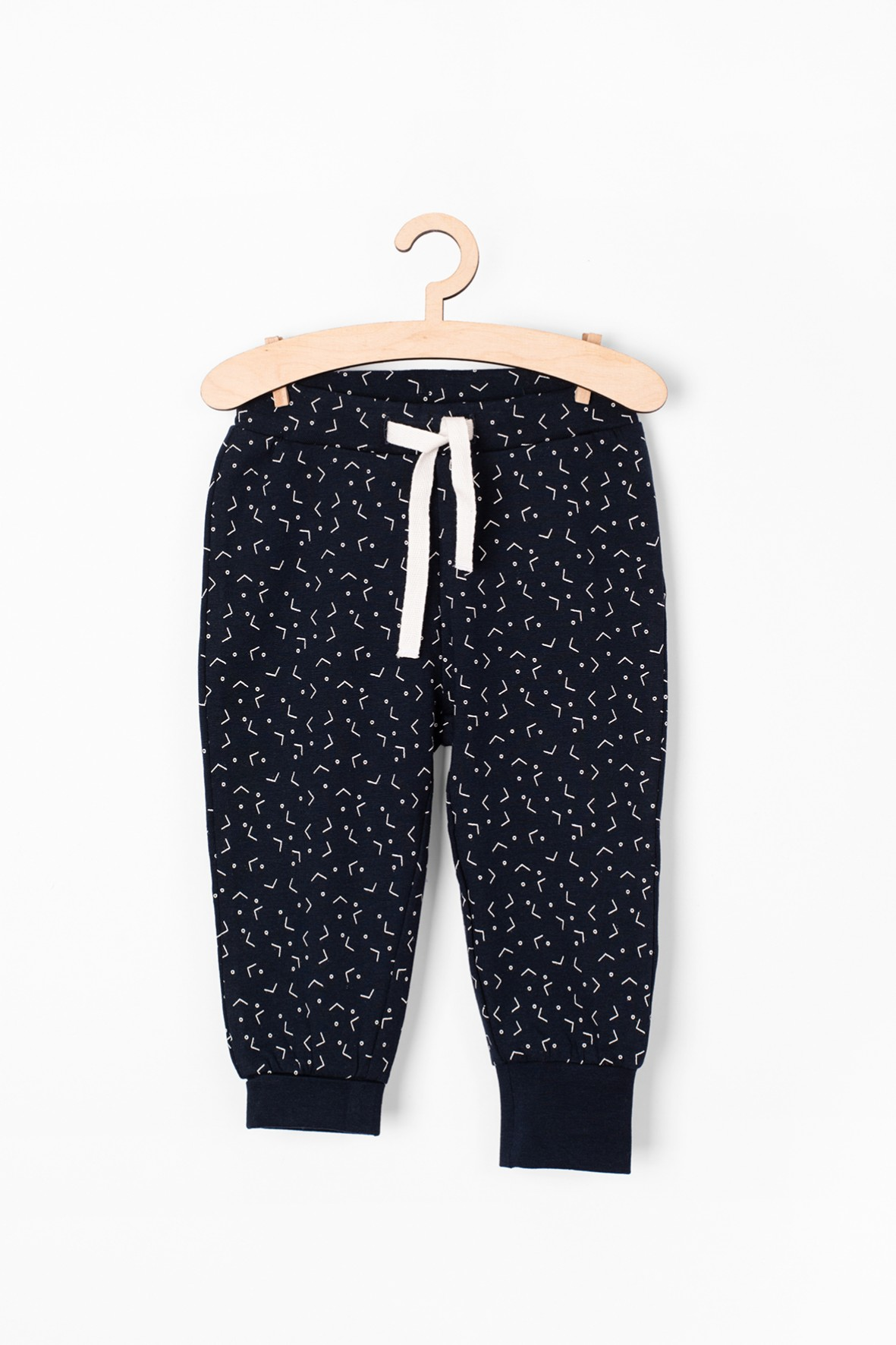 Granatowe spodnie dresowe w białe wzorki - Organic Cotton