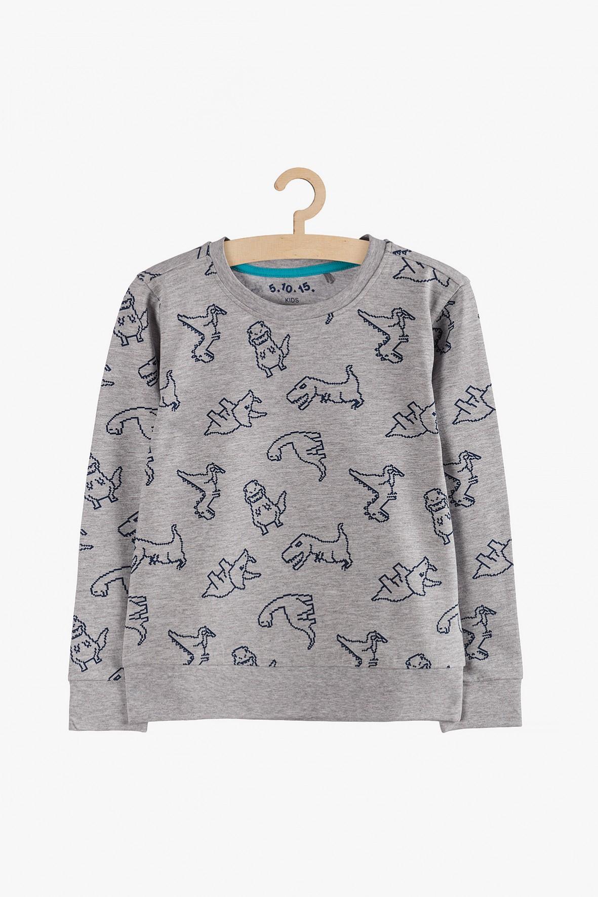 Bluzka chłopięca szara z dinozaurami