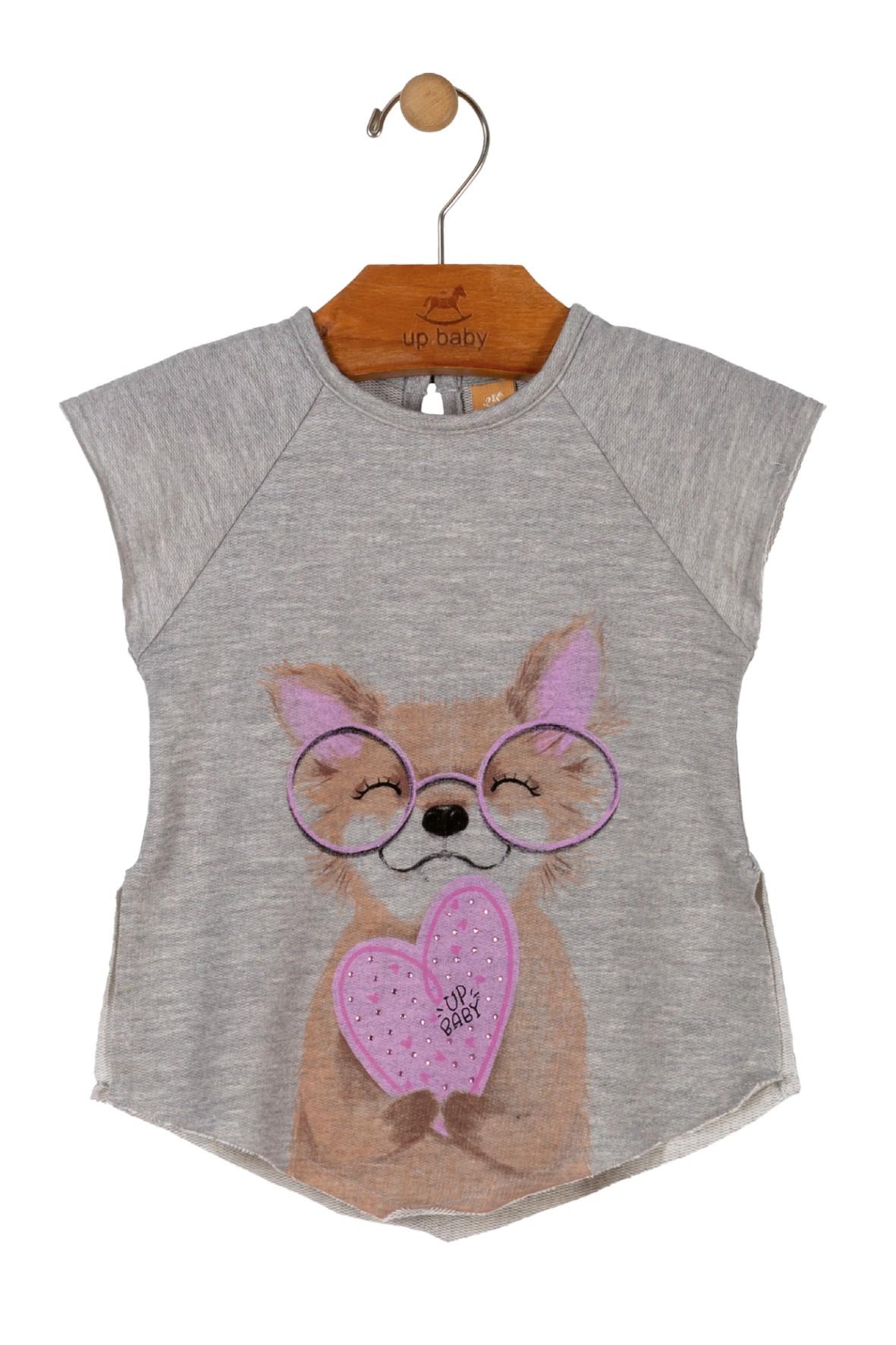 T-shirt asymetryczny dziewczęcy szary z pieskiem