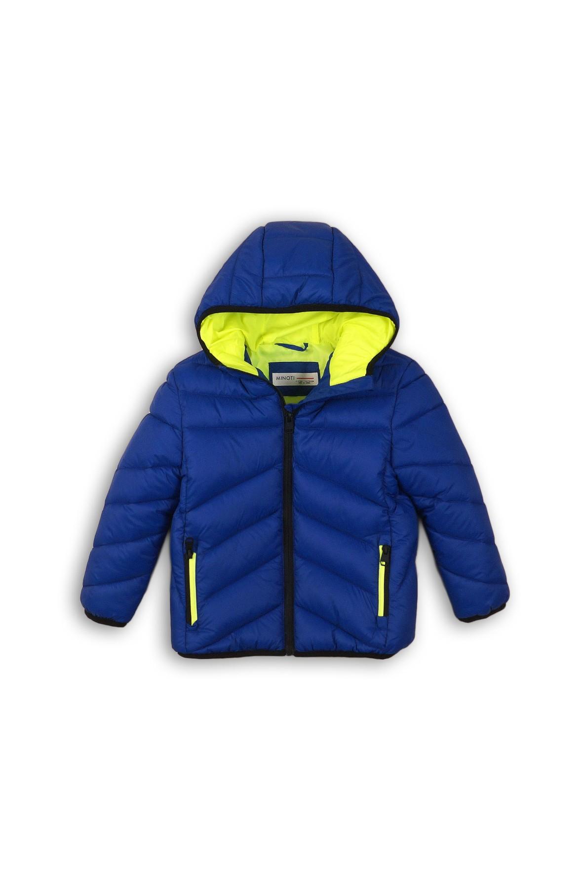 Granatowa pikowana kurtka dla chłopca- kontrastowa podszewka