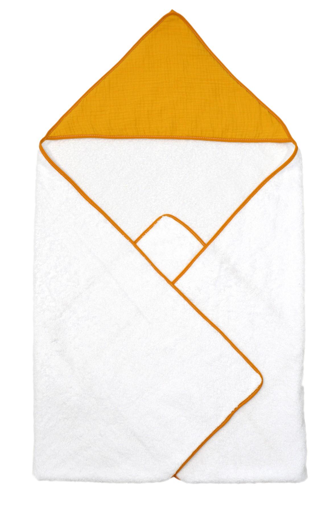 Okrycie kąpielowe dla dziecka 100x100cm - biało-żółte