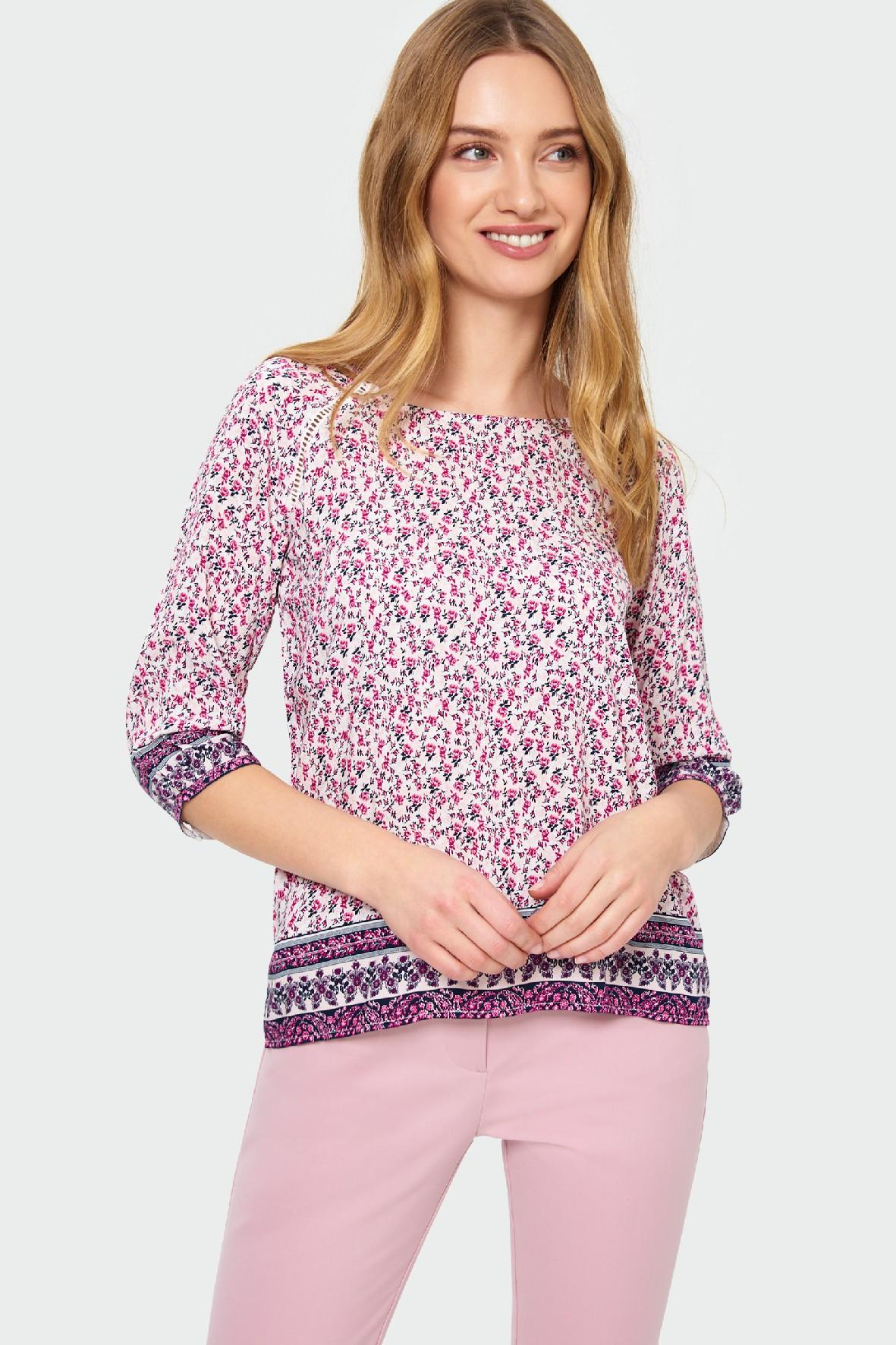 Wiskozowa bluzkadamska w kwiaty