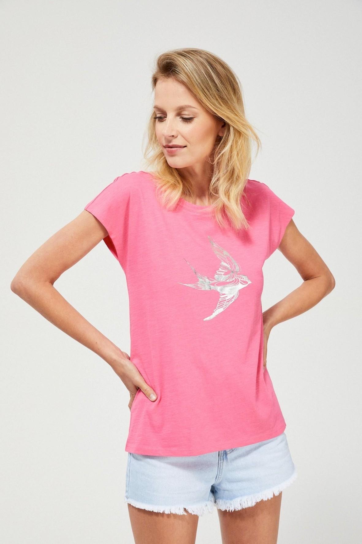 Bawełniany różowy T-shirt damski