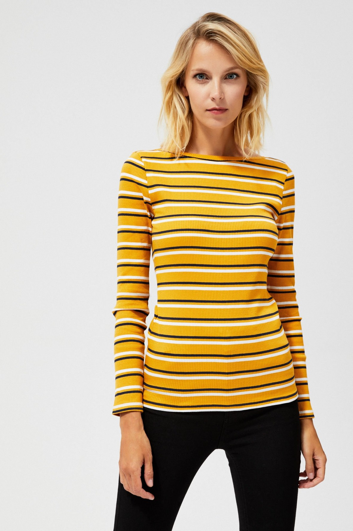 Bluzka ribbowa w paski - żółta