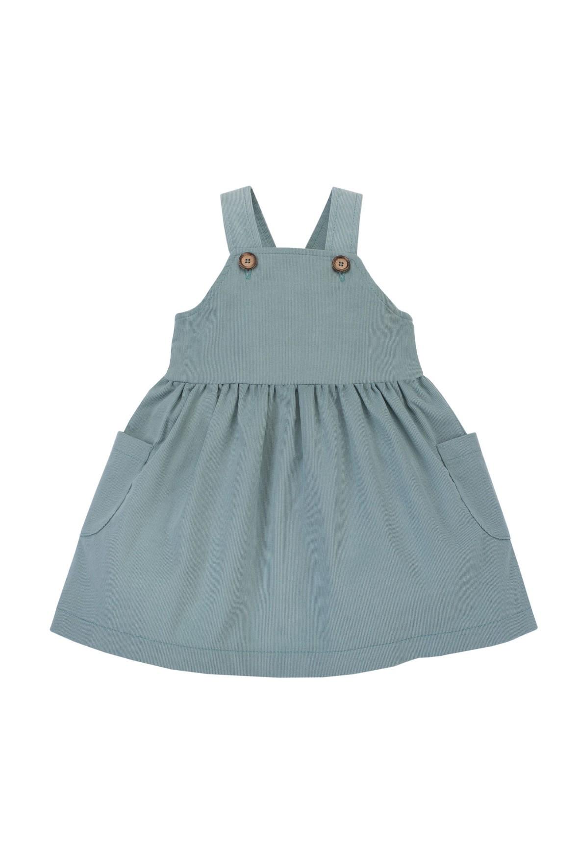 Modna sukienka na szelkach dla dziewczynki w odcieniu mięty
