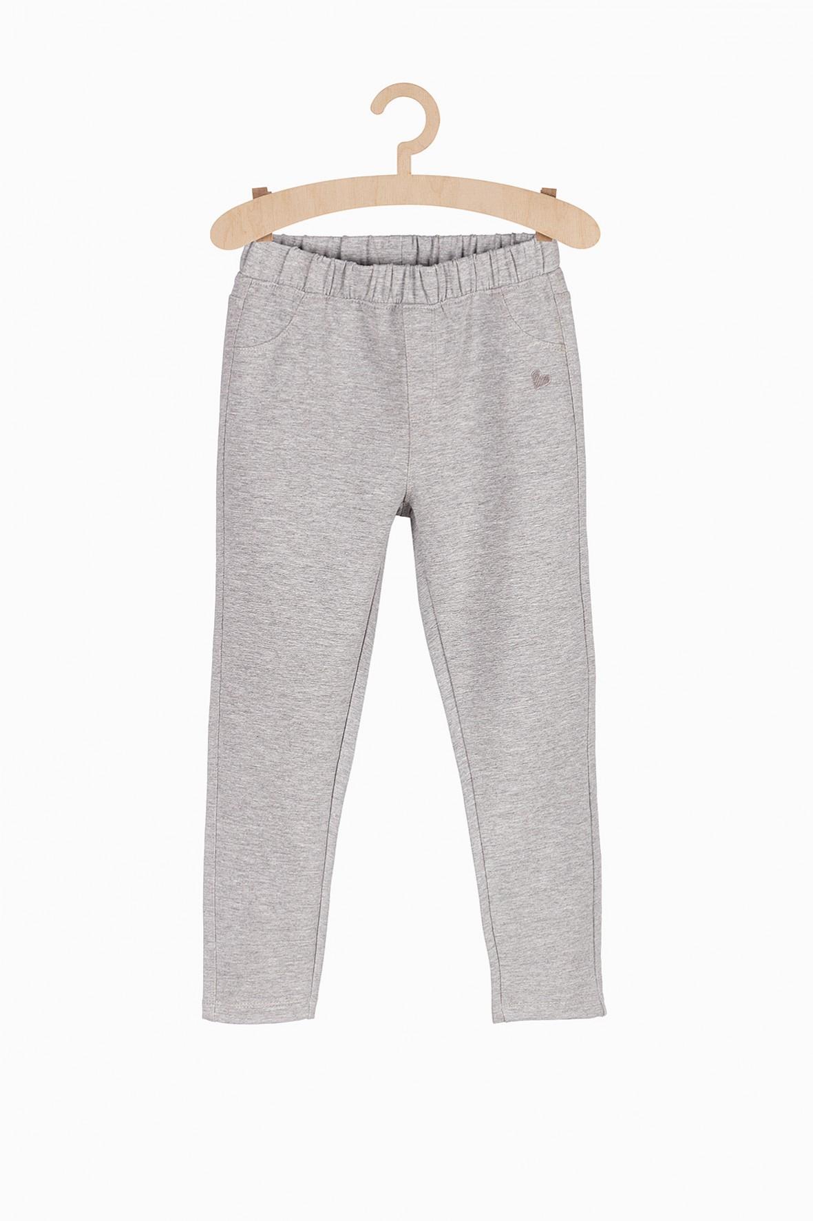Długie dzianinowe spodnie dla dziewczynki- szare