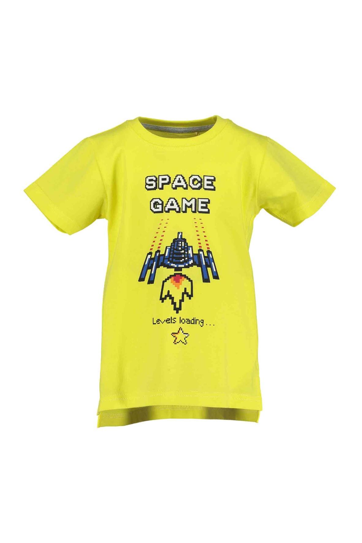 T-Shirt chłopięcy limonkowy z nadrukiem Space game