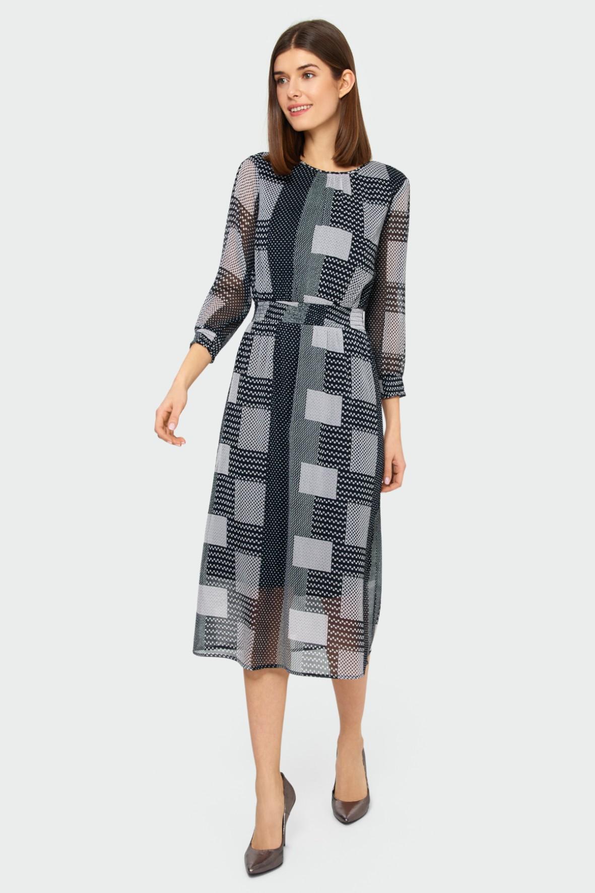 Elegancka sukienka z geometrycznym nadrukiem