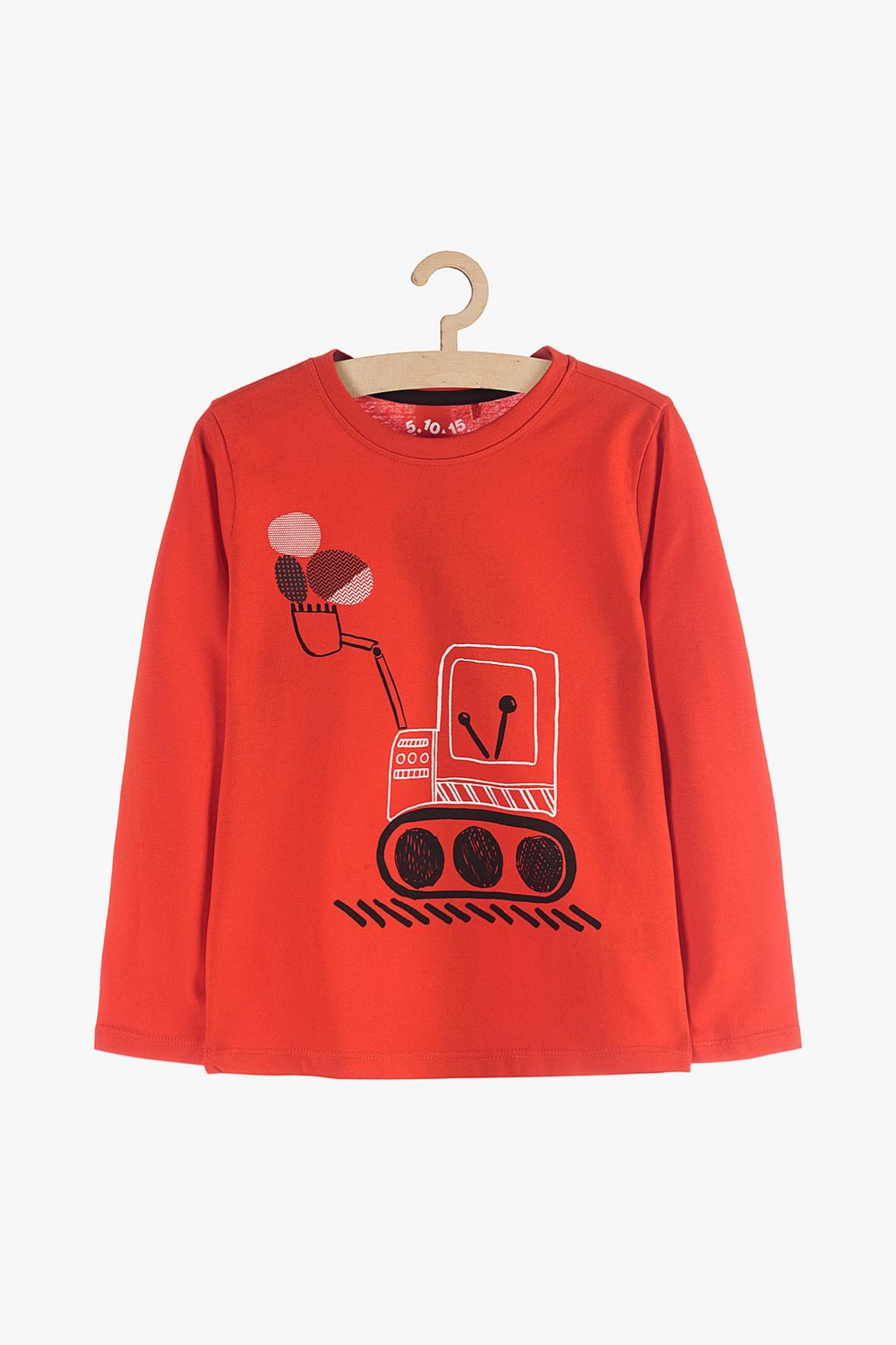 Bluzka chłopięca pomarańczowa z koparką- 100% bawełna