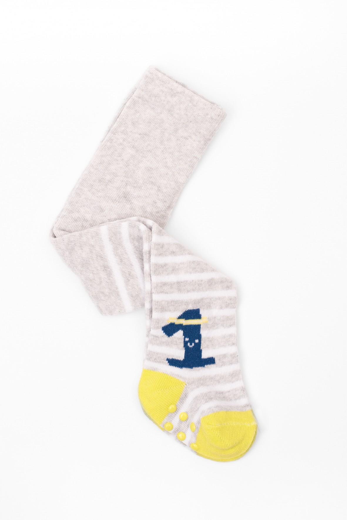 Rajstopy dla niemowlaka- szare w białe paski z ABS