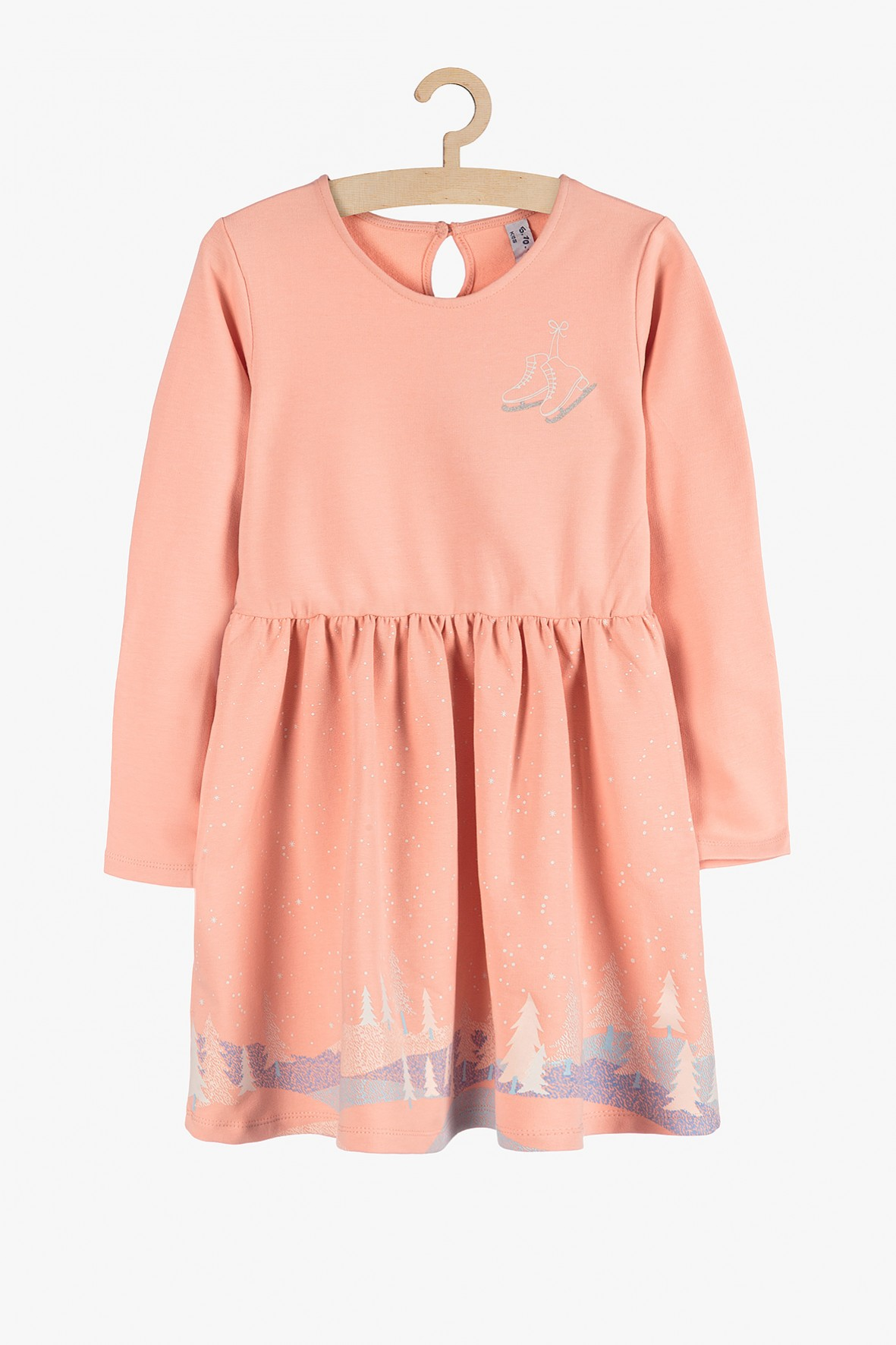 Dzianinowa sukienka dla dziewczynki- różowa