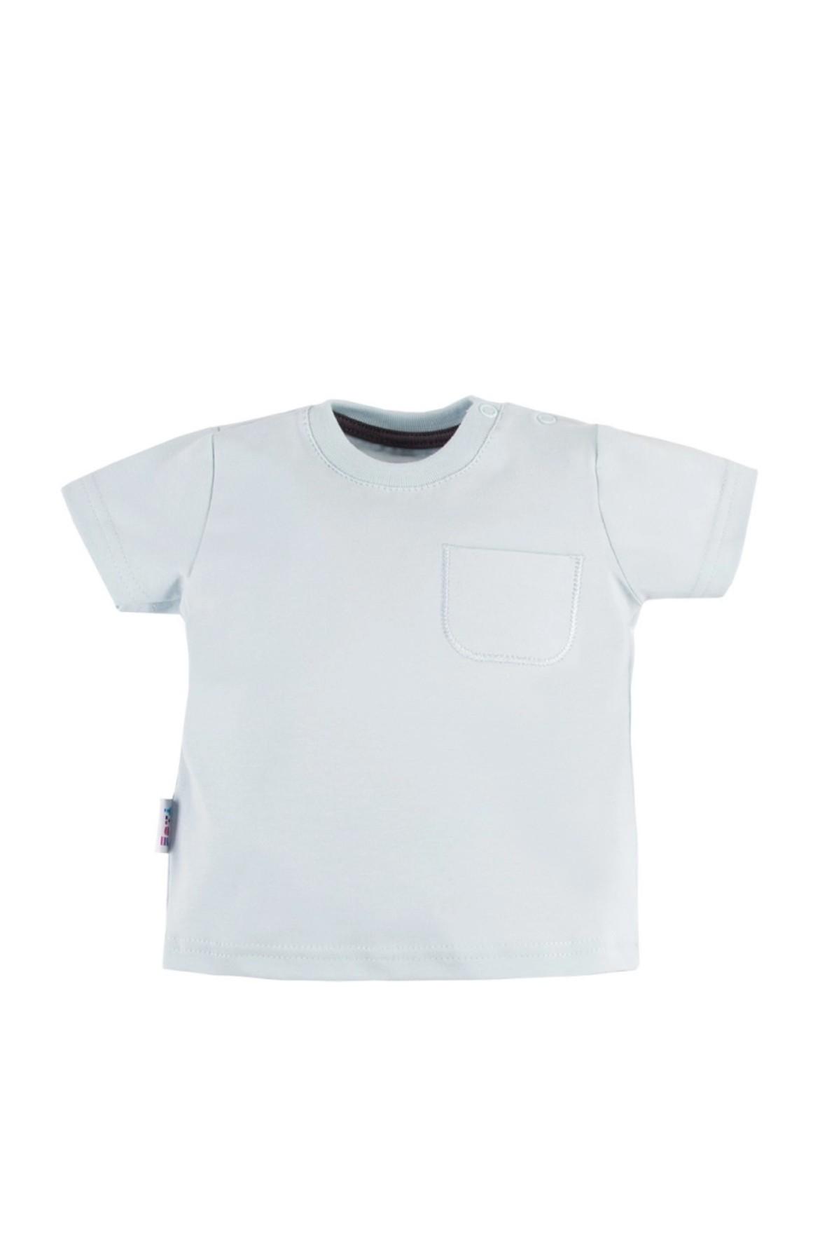 T-shirt LAZY DAYS niebieski z kieszonką