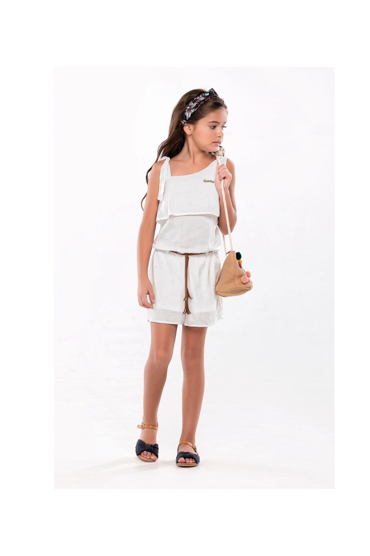 Kombinezon dziewczęcy na lato- biały z paskiem
