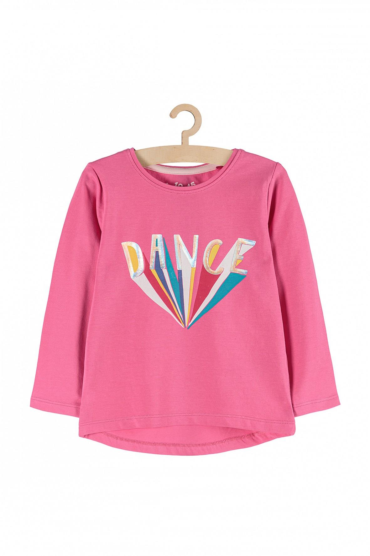 Bluzka dziewczęca różowa z napisem Dance