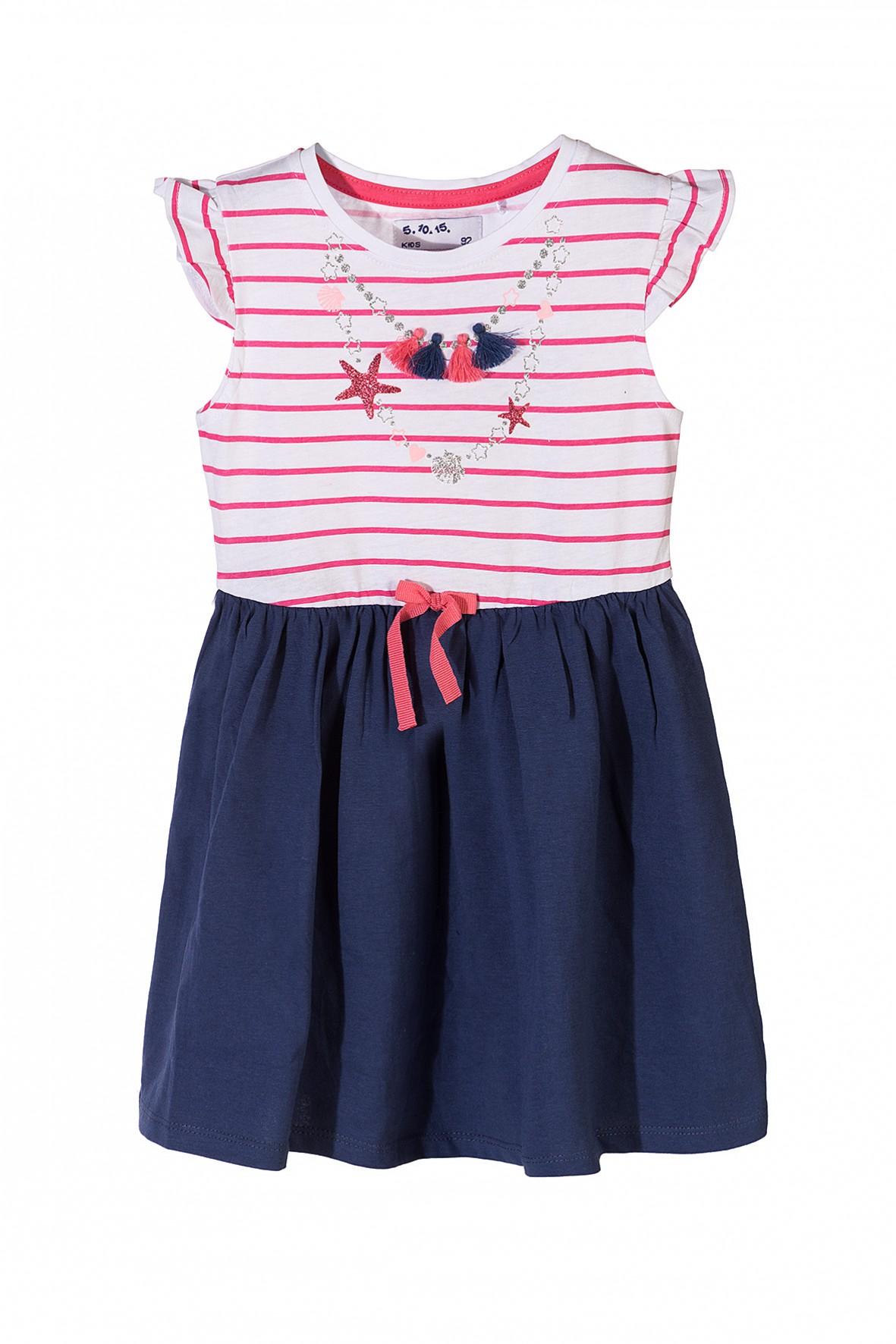 Bawełniana sukienka dla dziewczynki z ozdobnymi nadrukami