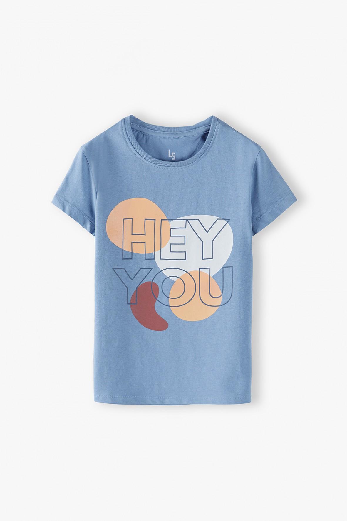 Bawełniany niebieski t-shirt dziewczęcy z napisem Hey You