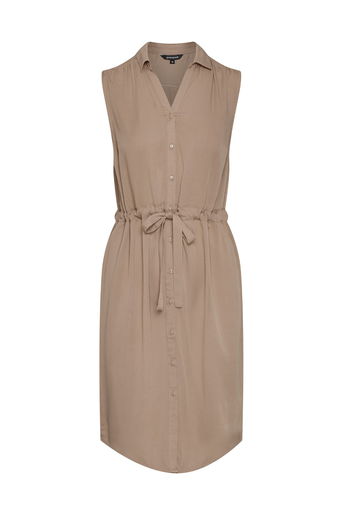Brązowa sukienka z lyocellu typu szmizjerka