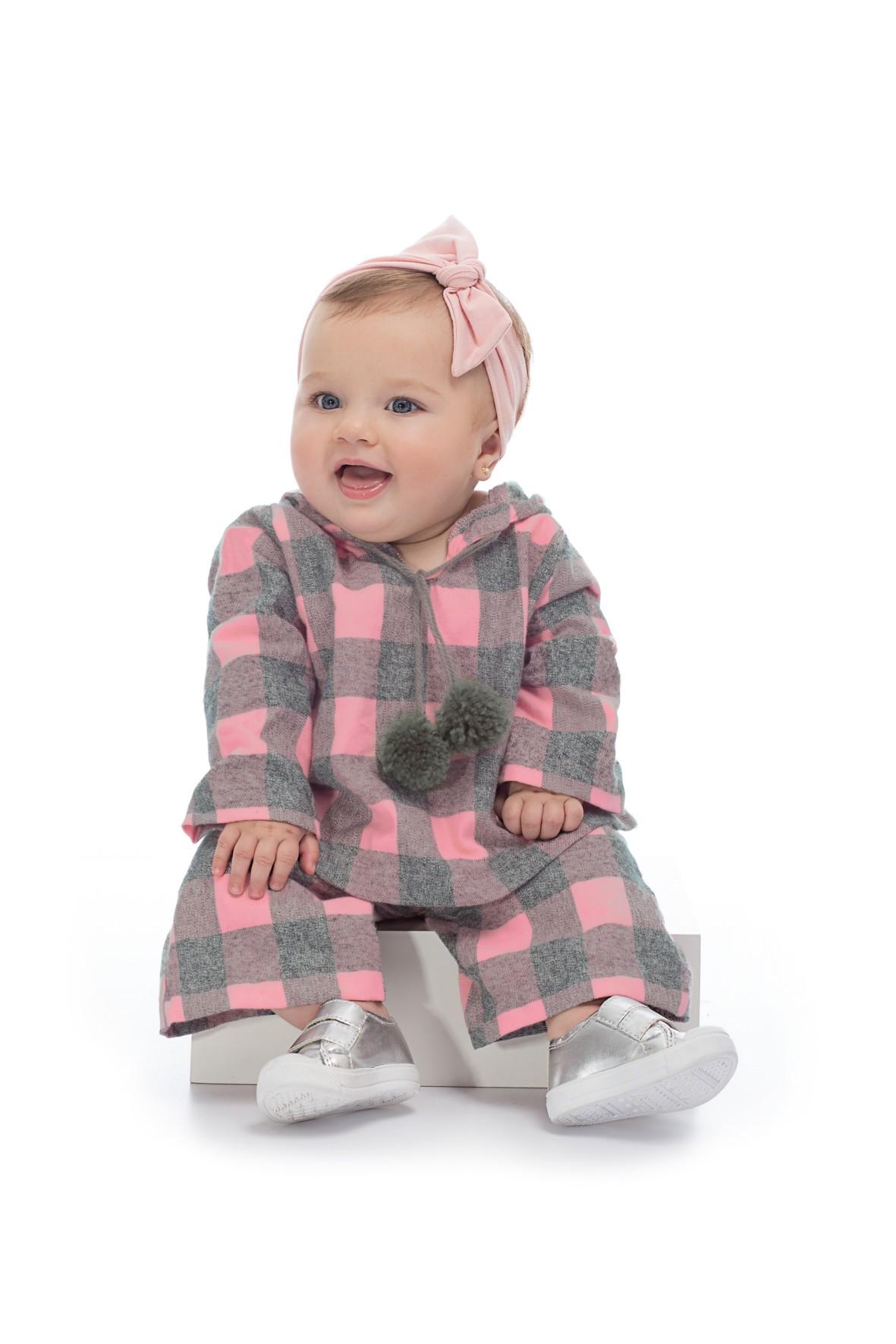 Komplet dziewczęcy- spodnie i bluzka w szaro różową kratę