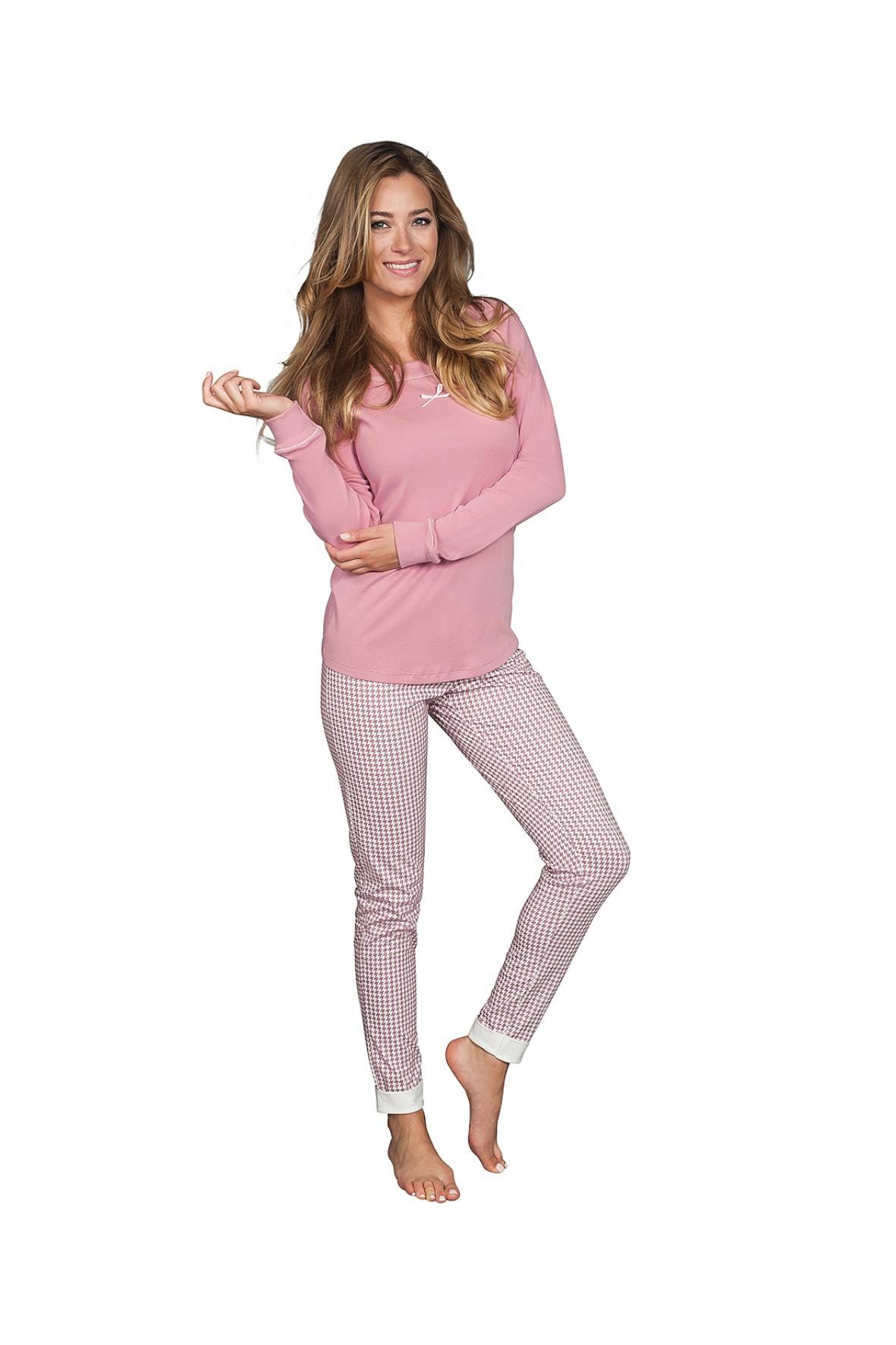 Piżama damska na  długi rękaw + długie spodnie - różowa