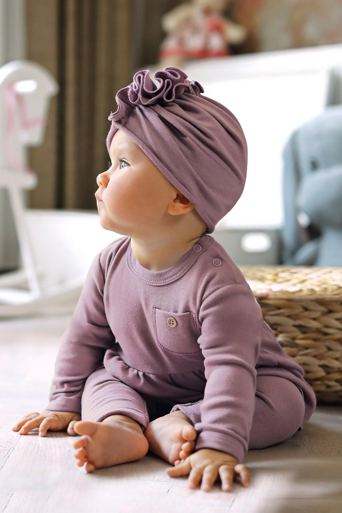 Bawełniany turban - wrzosowy