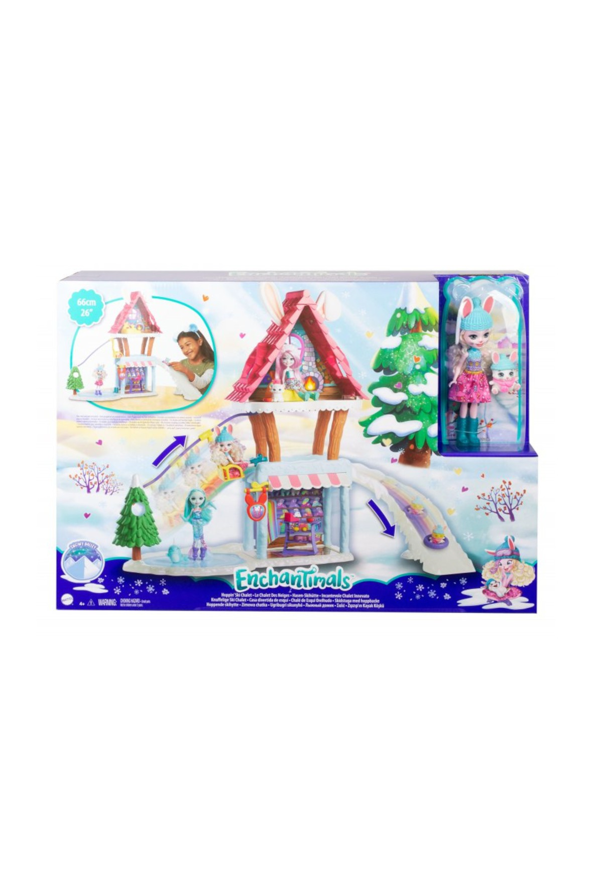 Zimowa chatka Enchantimals i lalka Bevy Bunny i zwierzątko króliczek Jump wiek 4+