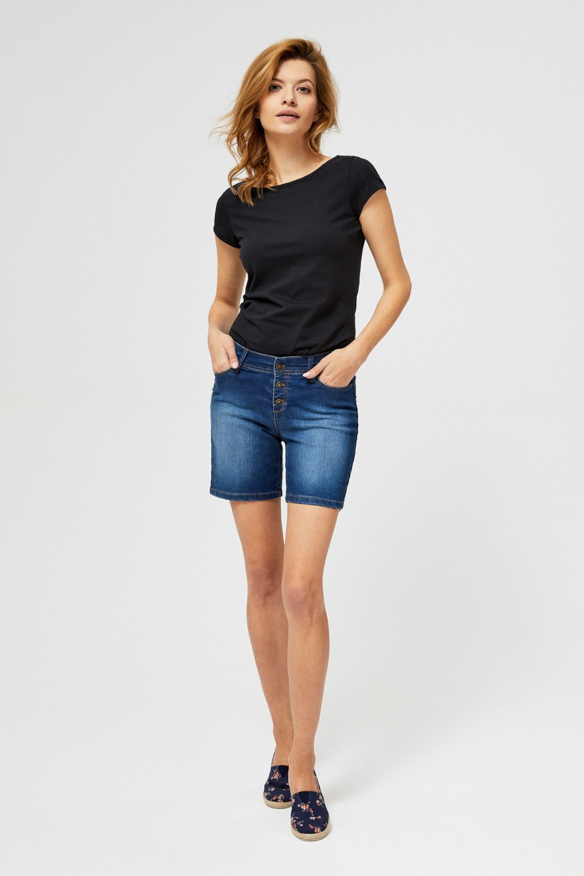 Szorty damskie  jeansowe ciemny niebieski