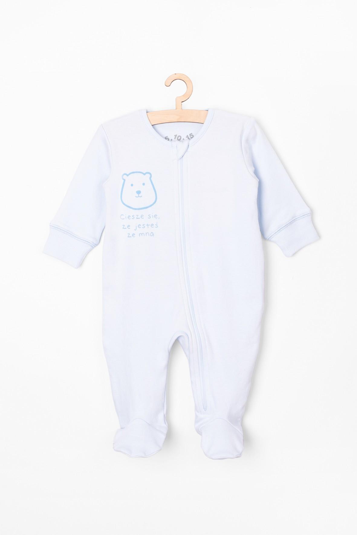 Pajac niemowlęcy bawełniany z misiem - niebieski