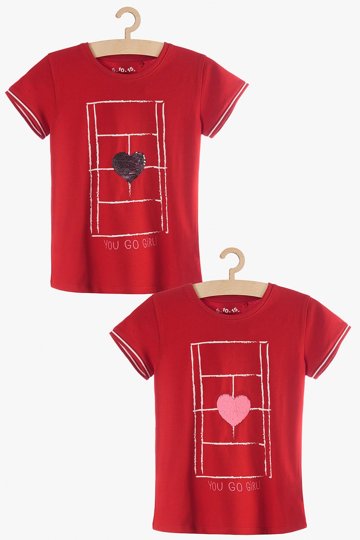 T-shirt dziewczęcy czerwony z odwracanymi cekinami
