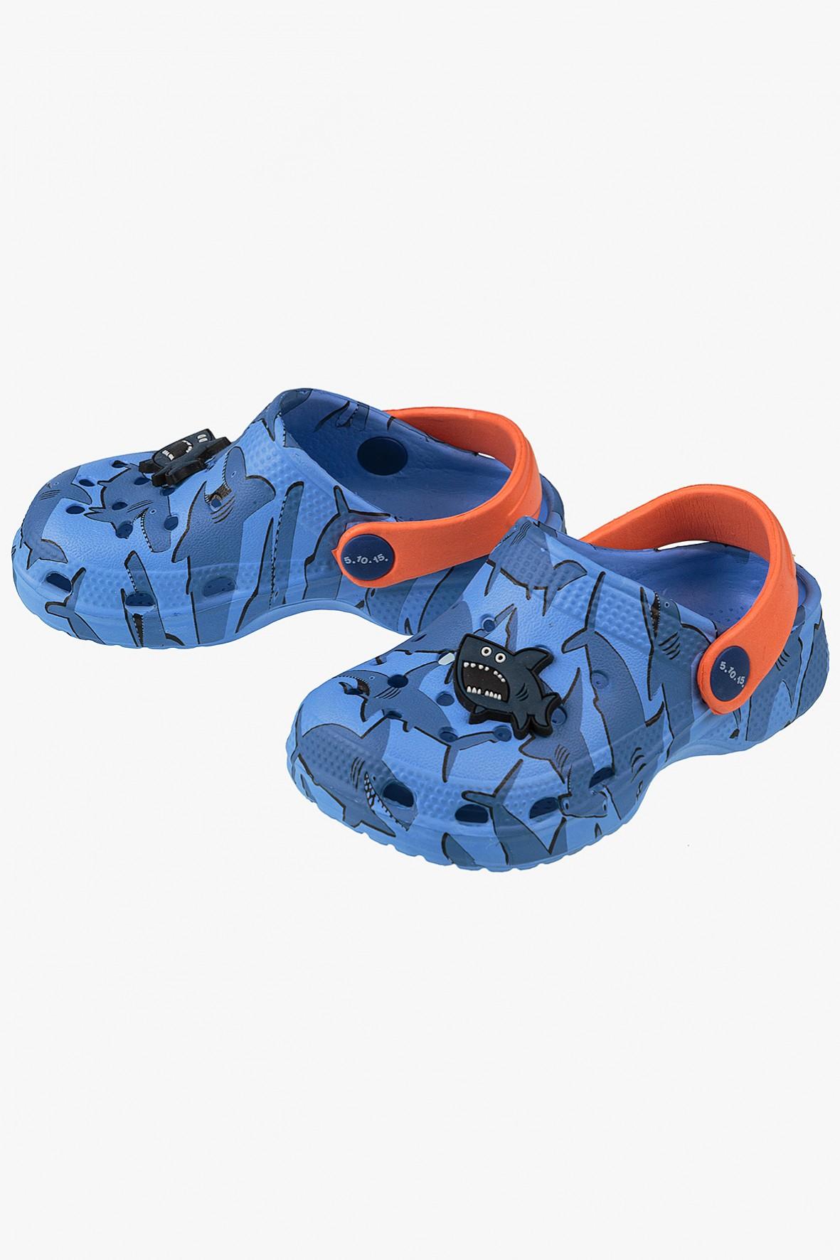 Sandały ogrodowe dla chłopca- niebieskie z rekinem
