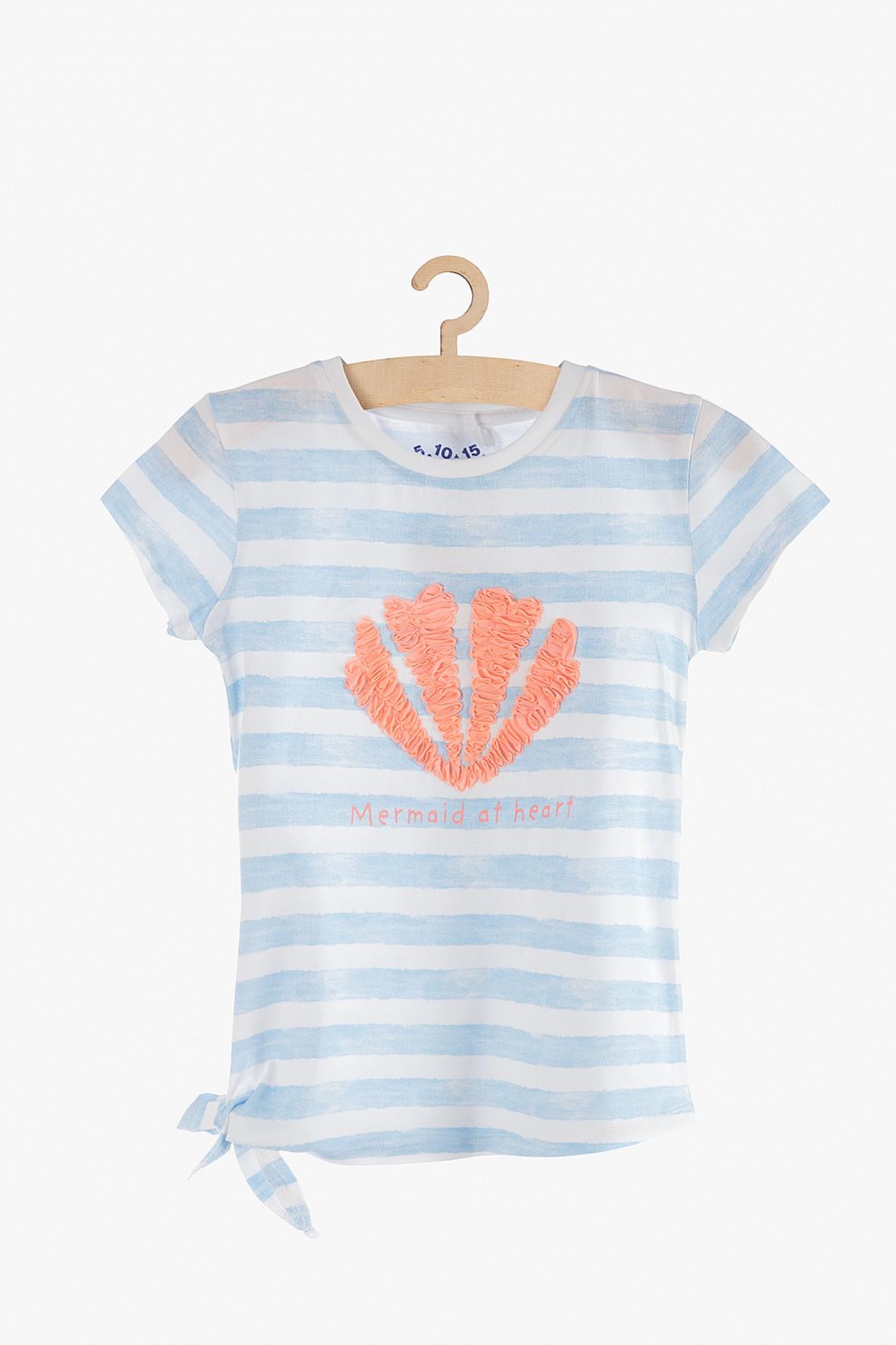 T-shirt dziewczęcy w paski - 100% bawełna