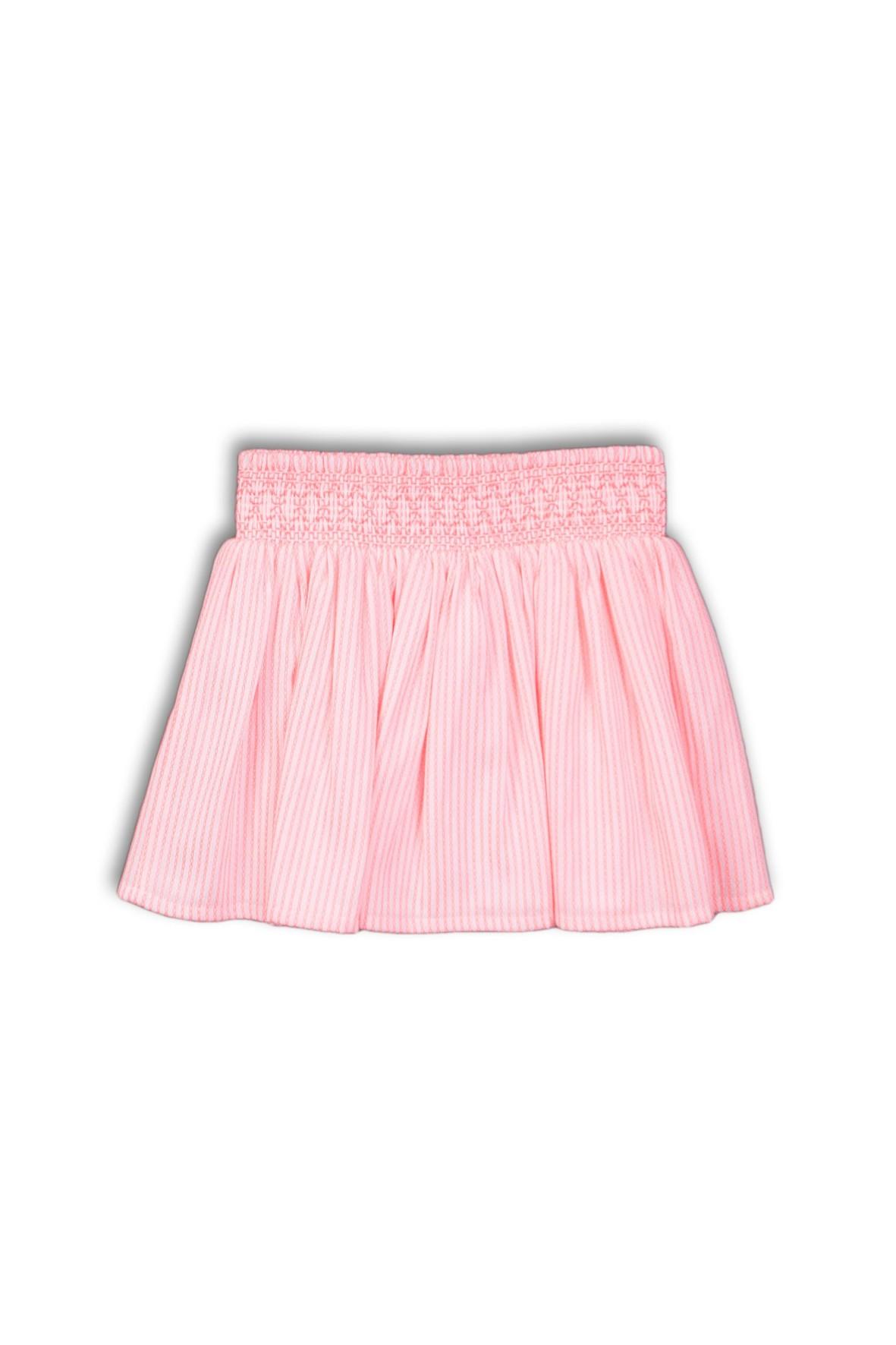 Spódniczka plisowana w z ozdobną gumką w pasie - różowa