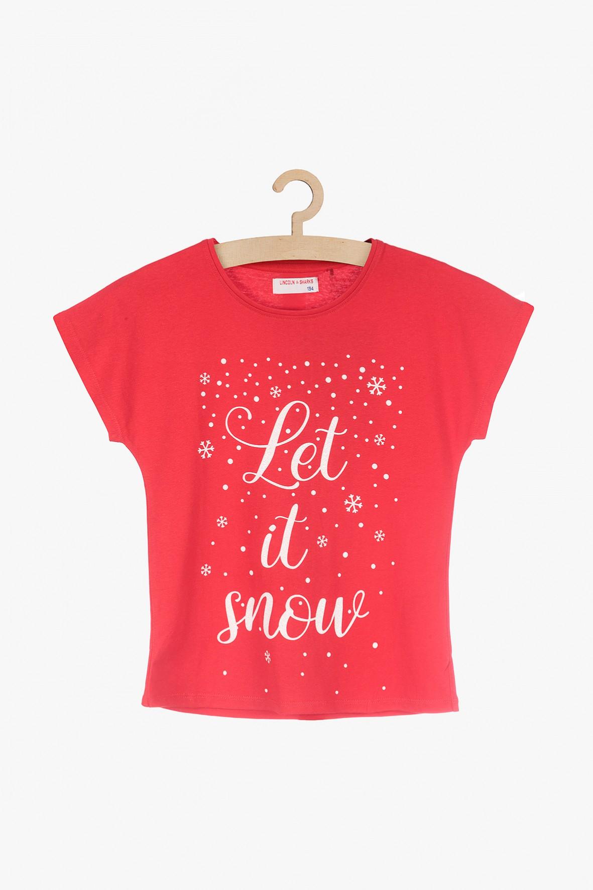 Czerwony t-shirt dla dziewczynki z napisem Let it snow
