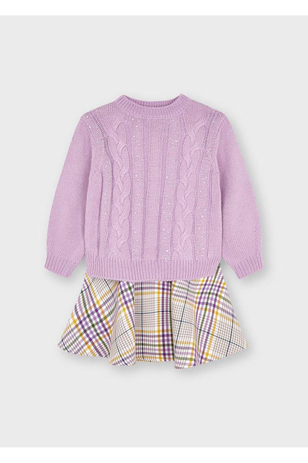 Komplet dziewczęcy - sukienka w kratę  + różowy  sweter