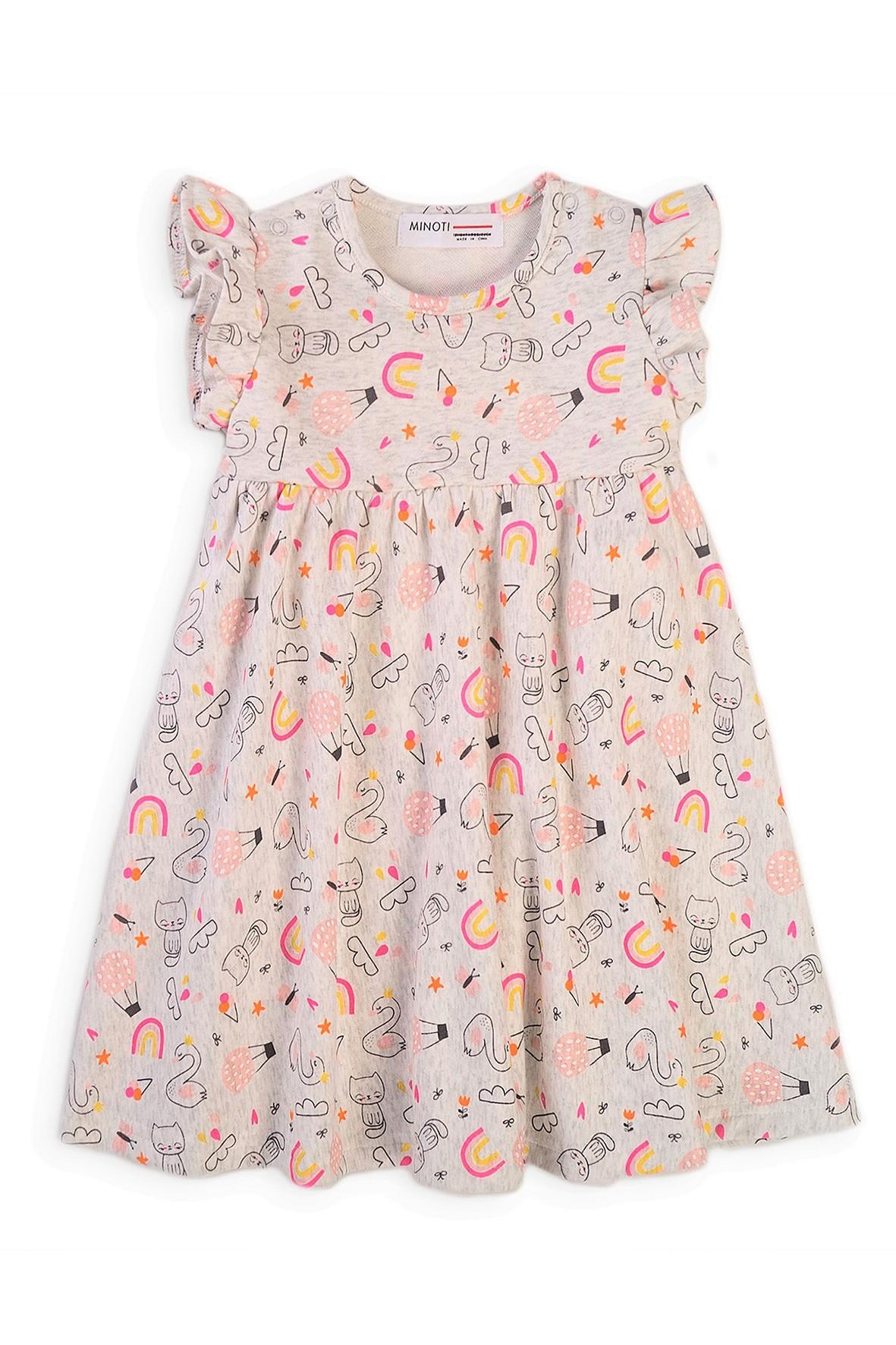 Bawełniana sukienka dziewczęca z kolorowym nadrukiem