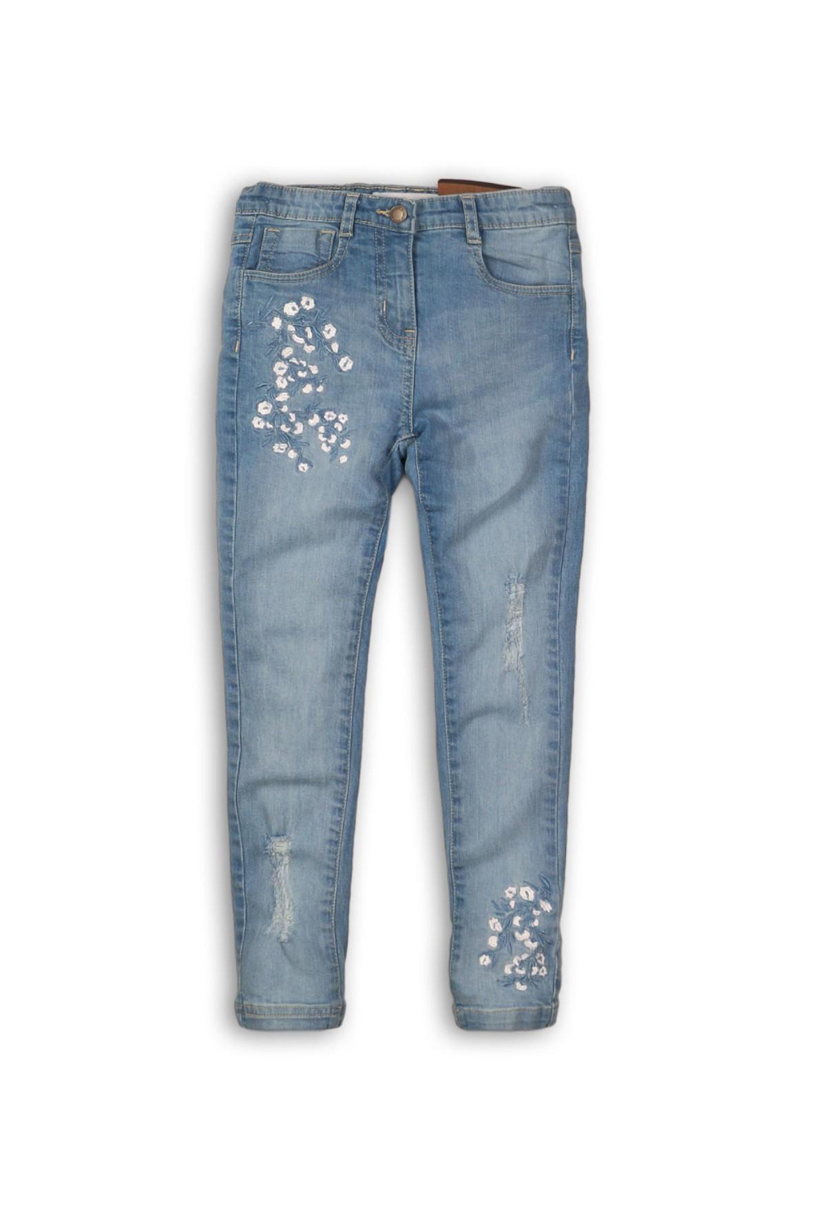 Spodnie dziewczęce jeansowe z ozdobnymi haftami