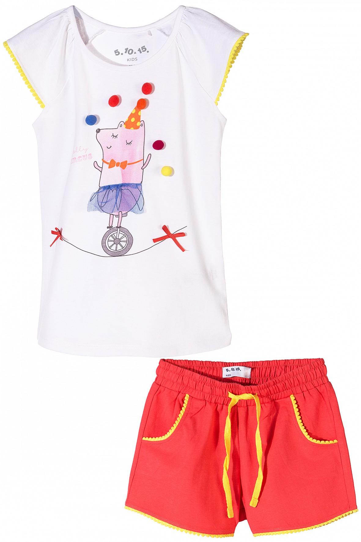 Komplet dziewczęcy na lato - t-shirt ze spodenkami
