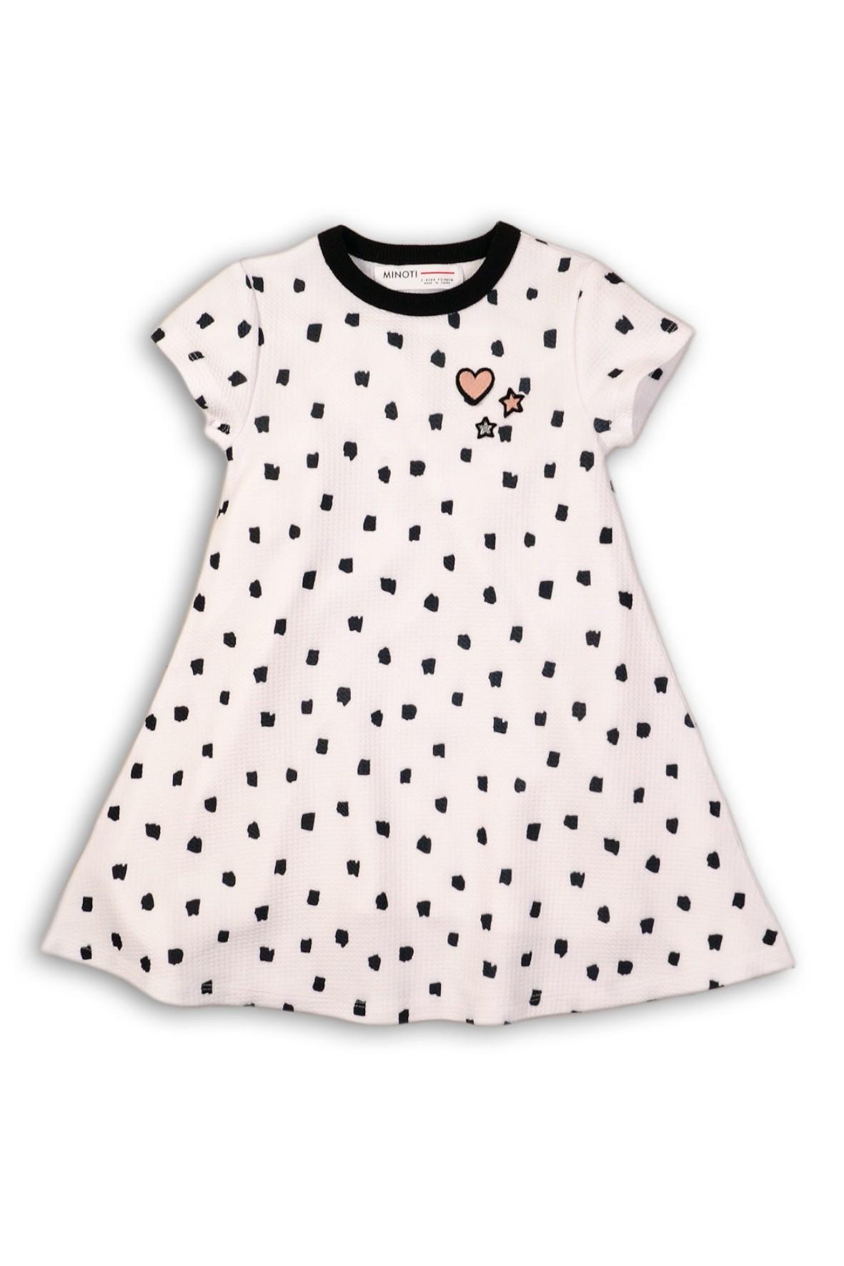 4f4e8d55e0 Sukienka dziewczęca dzianinowa z krótkim rękawem- czarne wzorki ...
