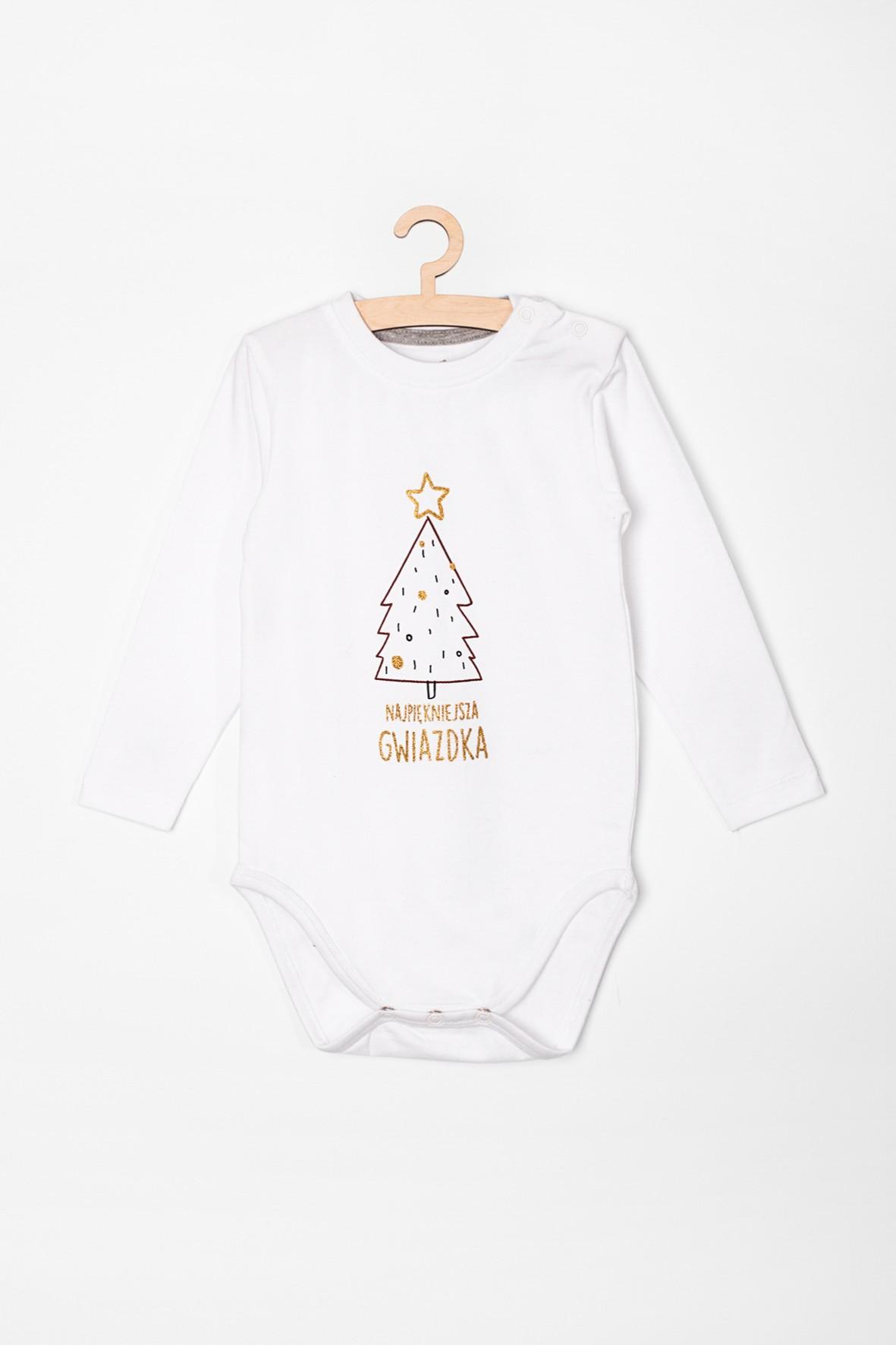 Body niemowlęce z choinką i napisem- Najpiękniejsza gwiazdka