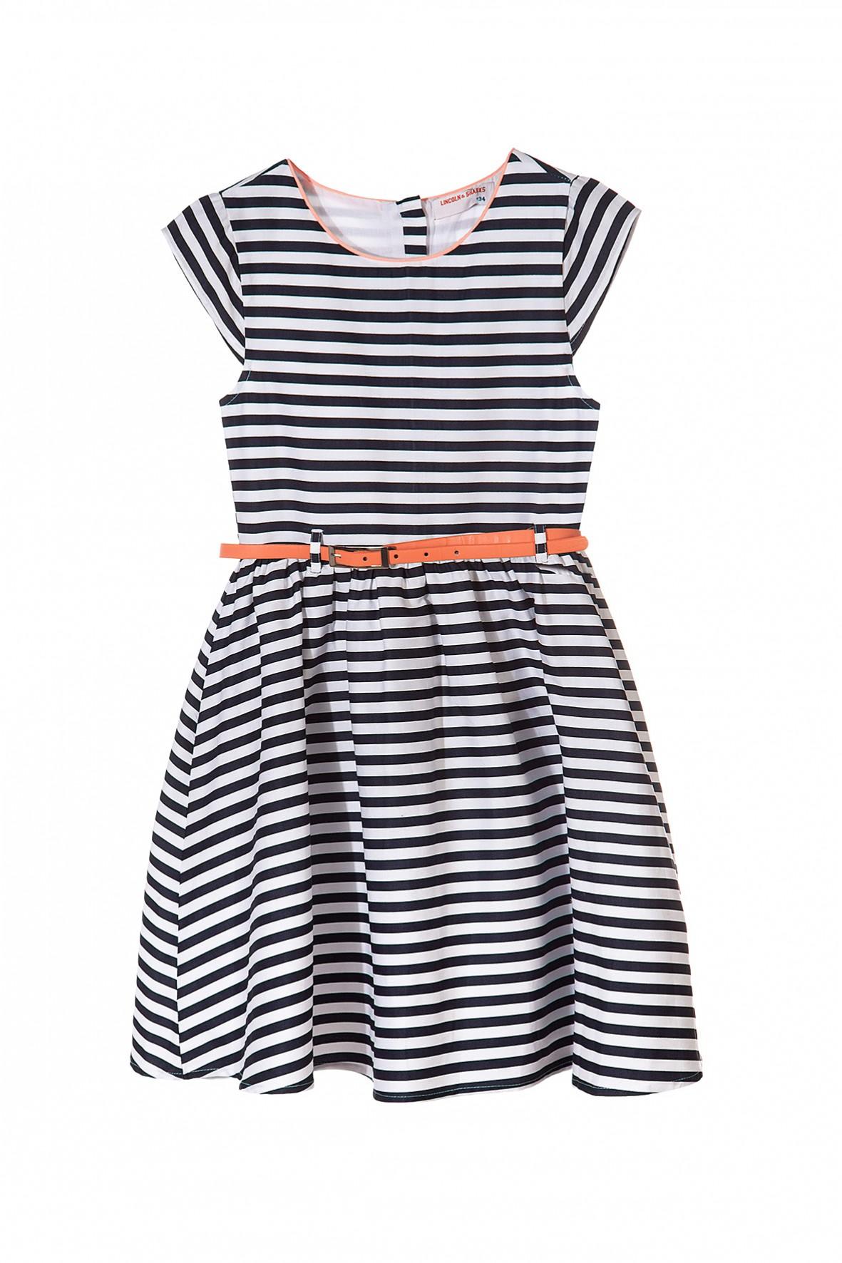287830e477 Sukienka dla dziewczynki w biało granatowe paski-idealna na ...