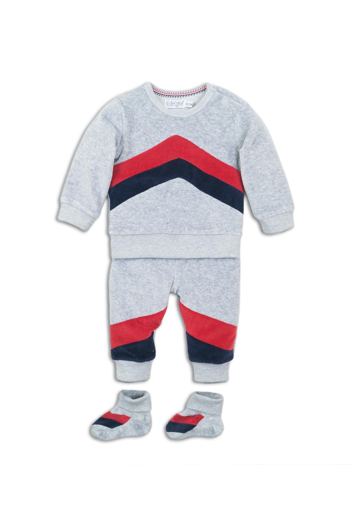Komplet niemowlęcy bluza i spodnie dresowe i skarpety- szary