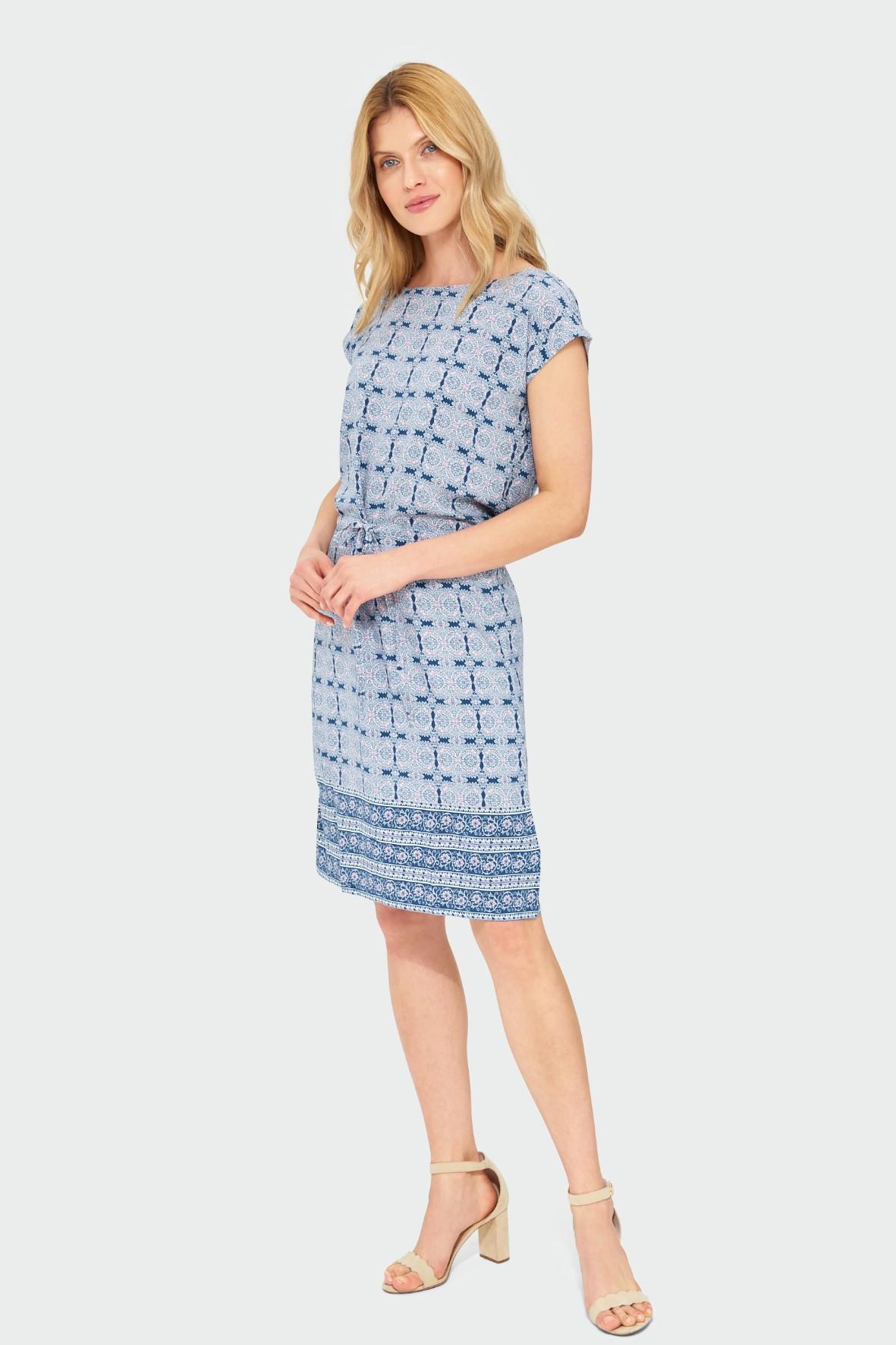 Niebieska wiskozowa sukienka damska