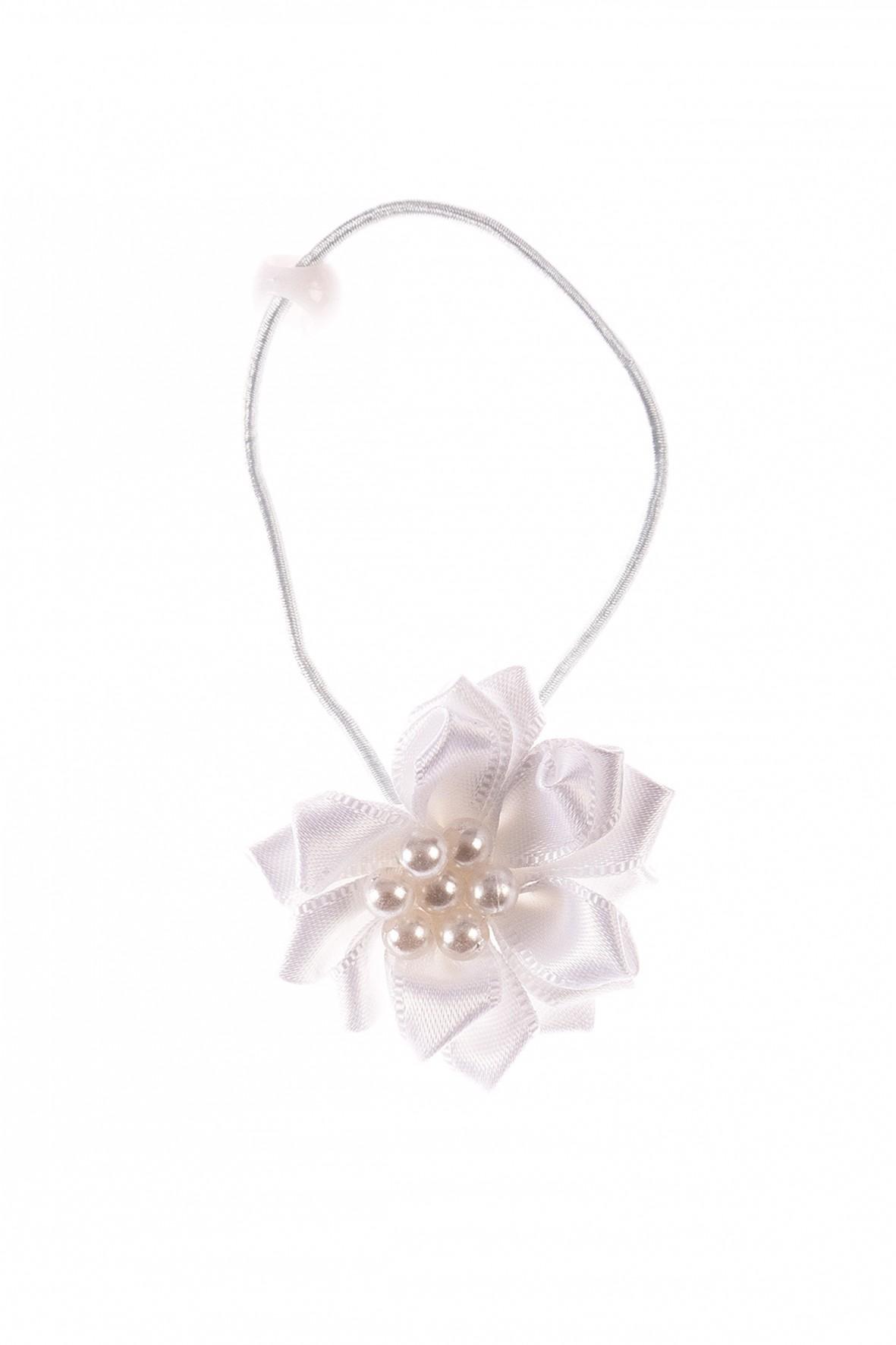 Gumka do włosów- biały kwiatek