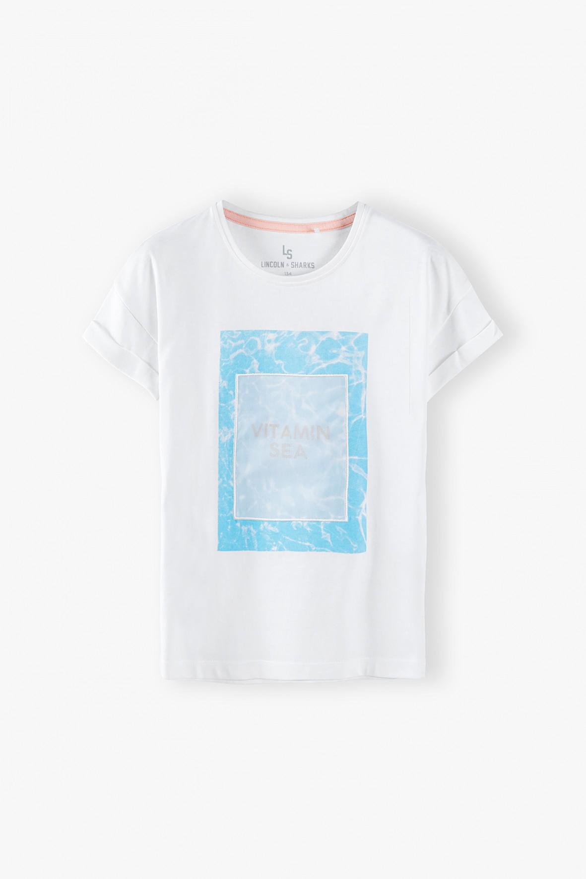T- shirt dziewczęcy - biały Aqua