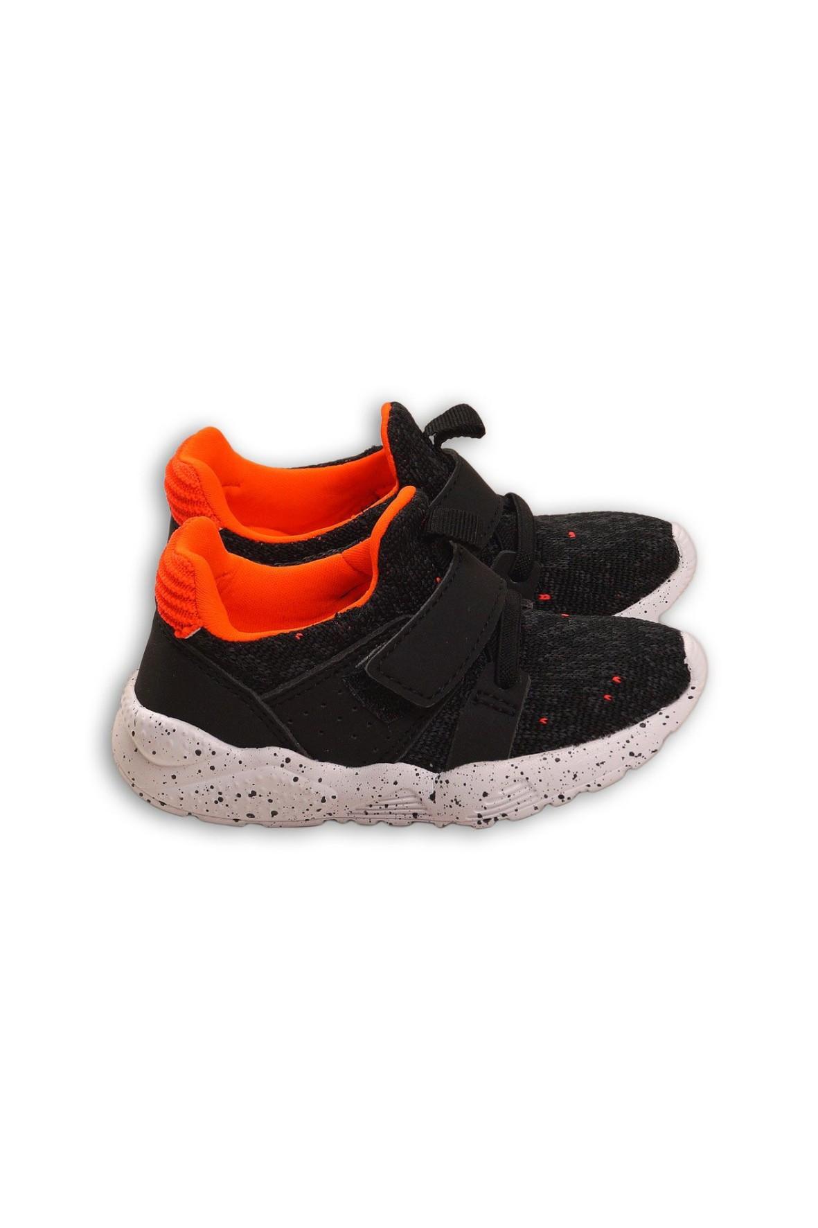 Buty chłopięce sportowe czarno-pomarańczowe