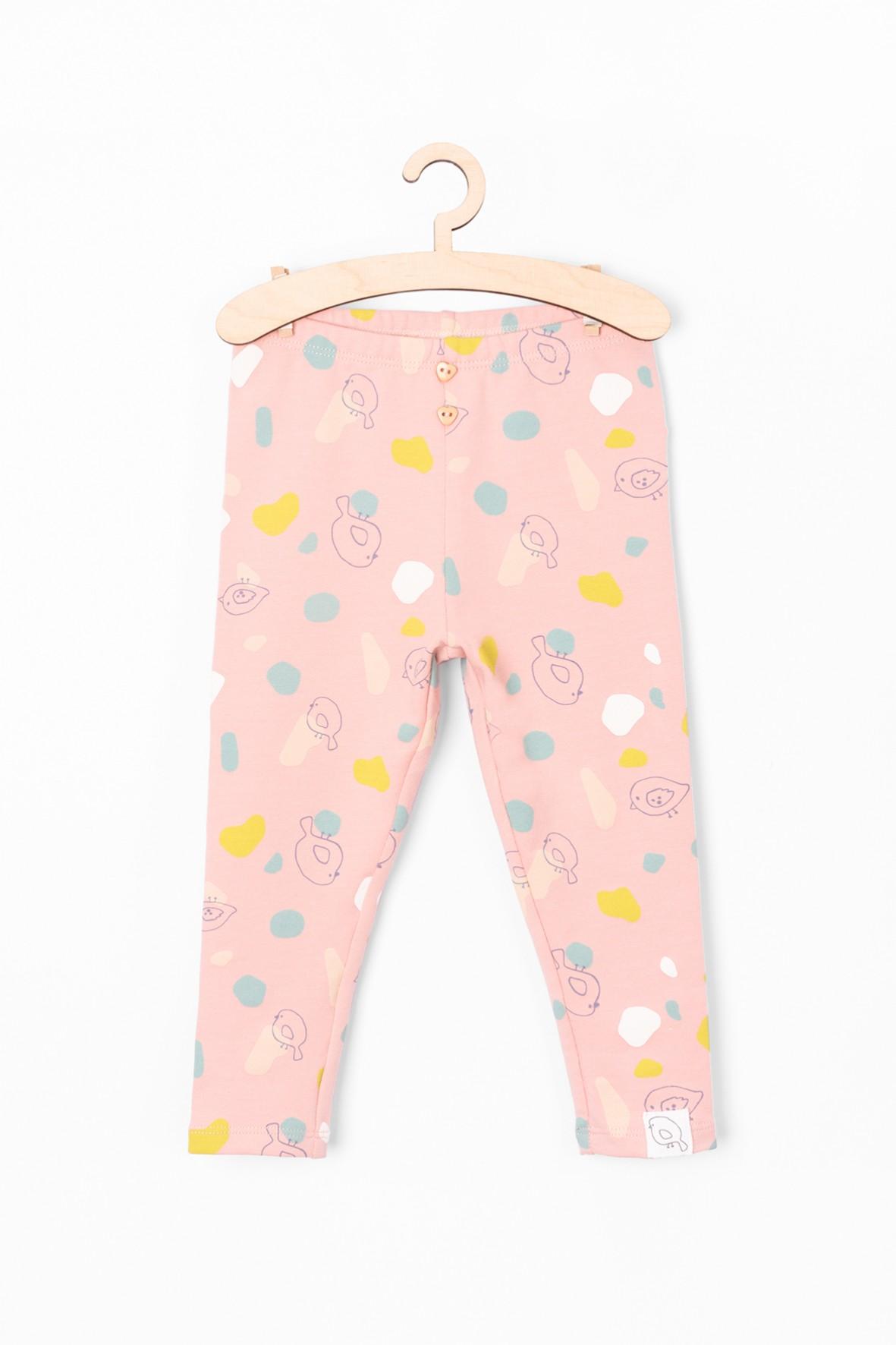 Leginsy niemowlęce we wzorki - różowe
