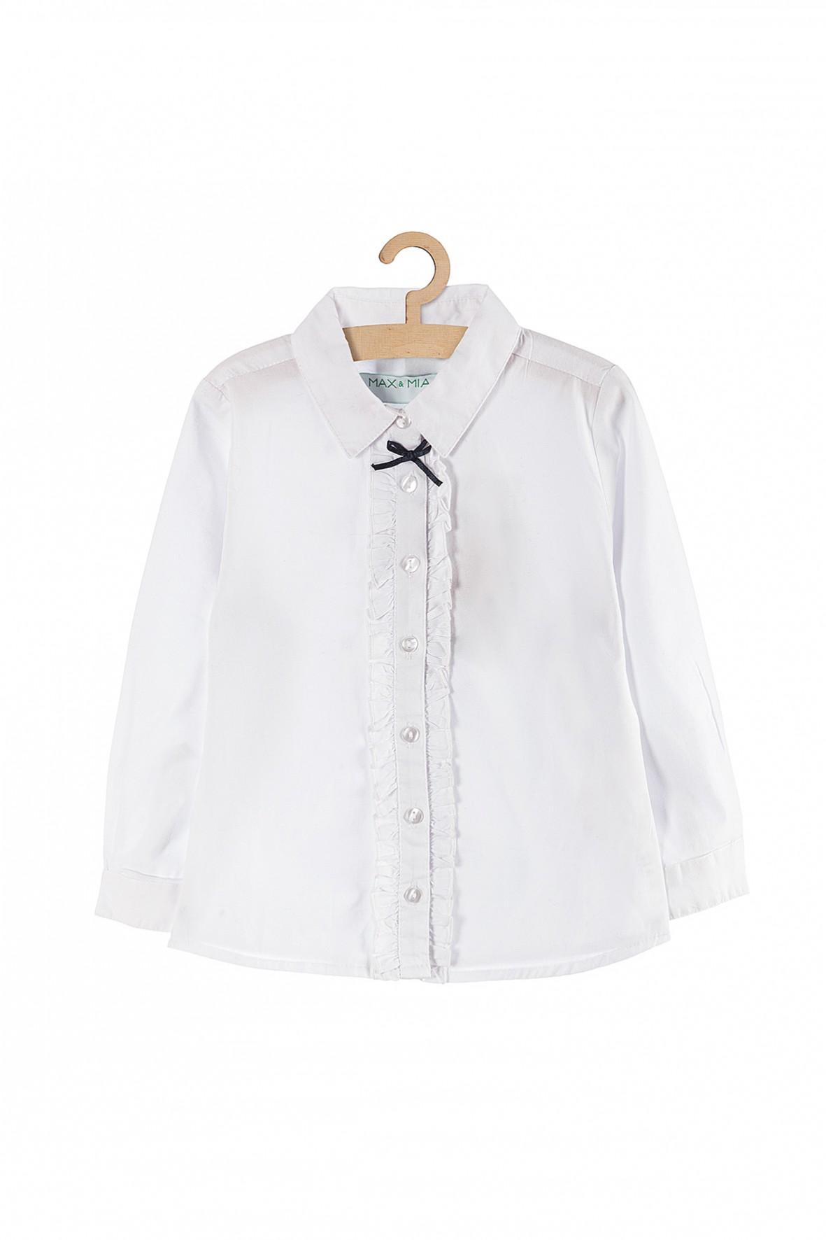Biała koszula z kołnierzykiem i ozdobna kokardką