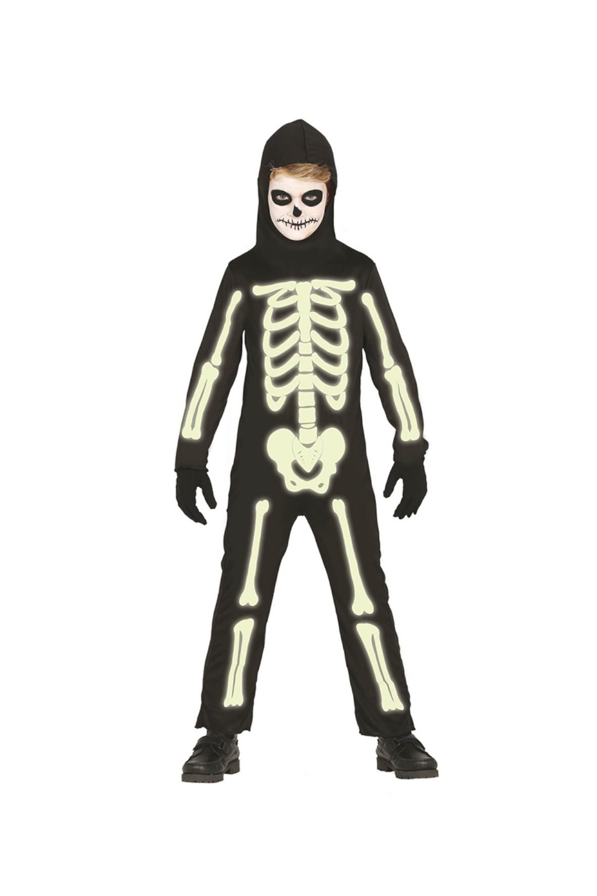 Strój karnawałowy chłopięcy Szkieletor święcący w ciemności